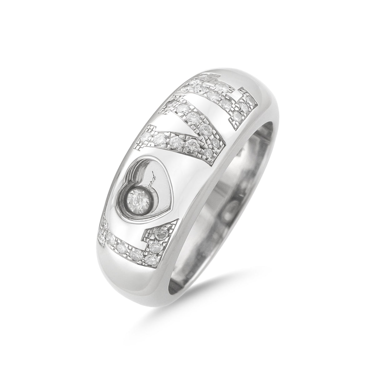 Chopard 18ct White Gold Happy Diamonds Love Ring