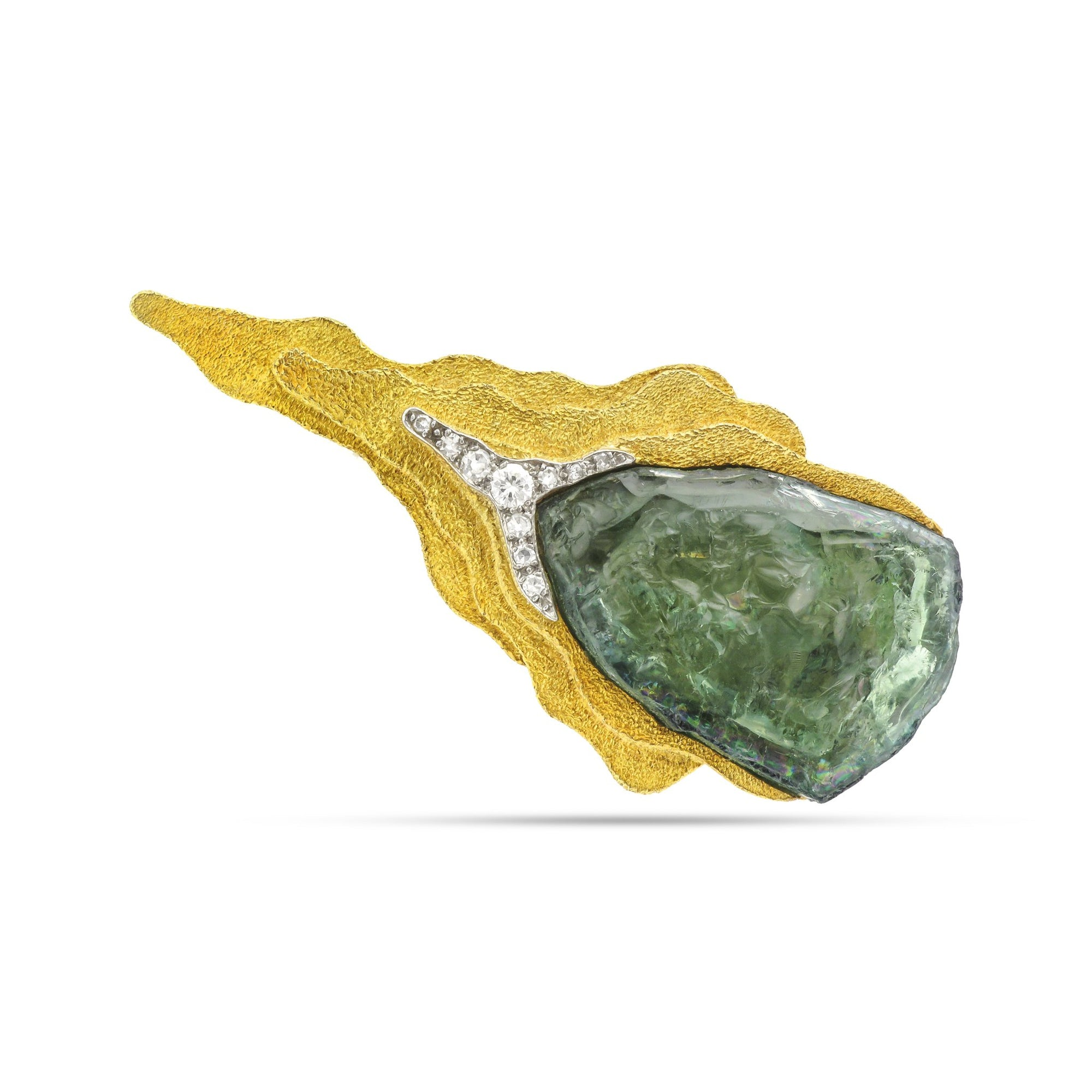 Vintage Andrew Grima 18ct Yellow Gold Tourmaline Brooch