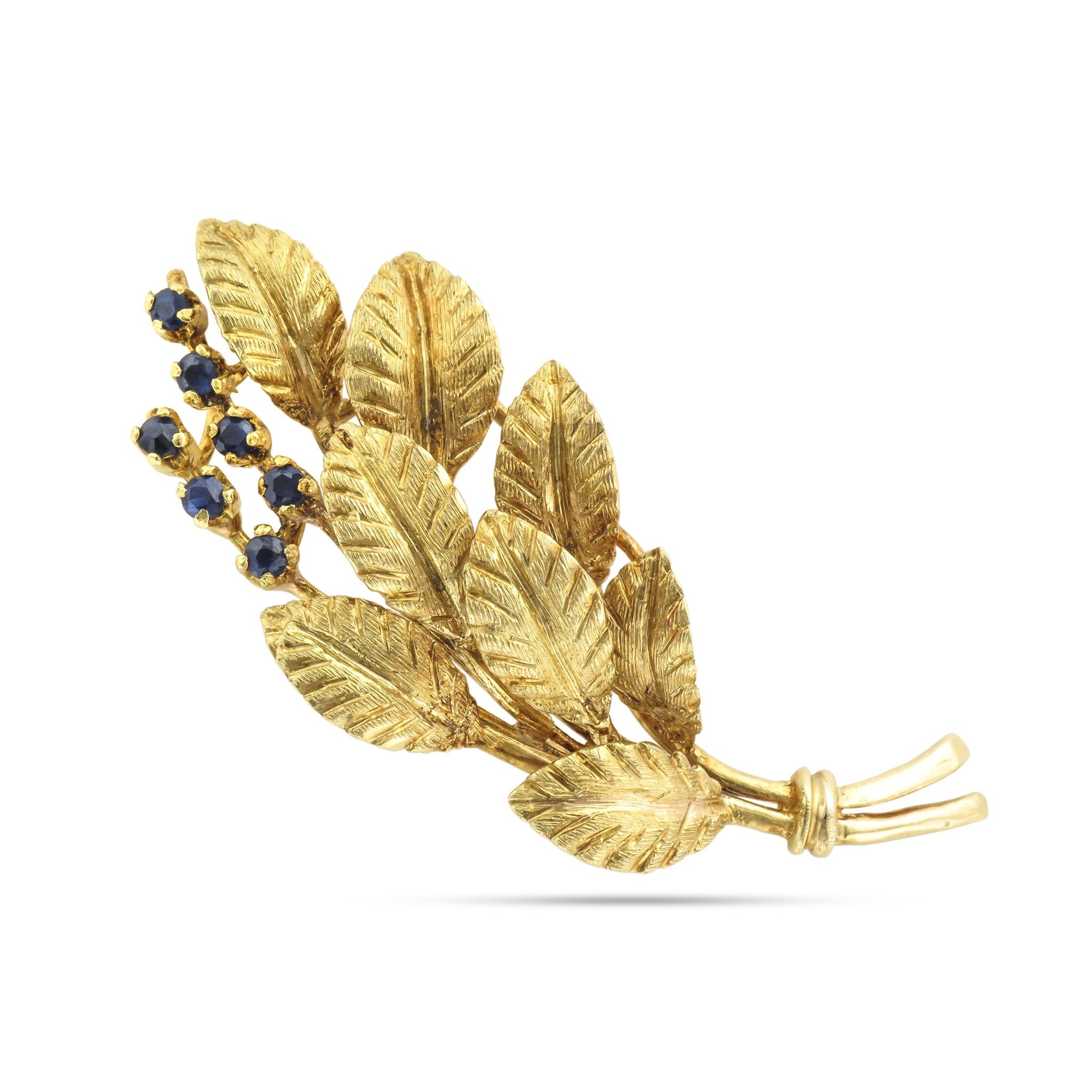 Vintage 18ct Yellow Gold Sapphire Spray Brooch