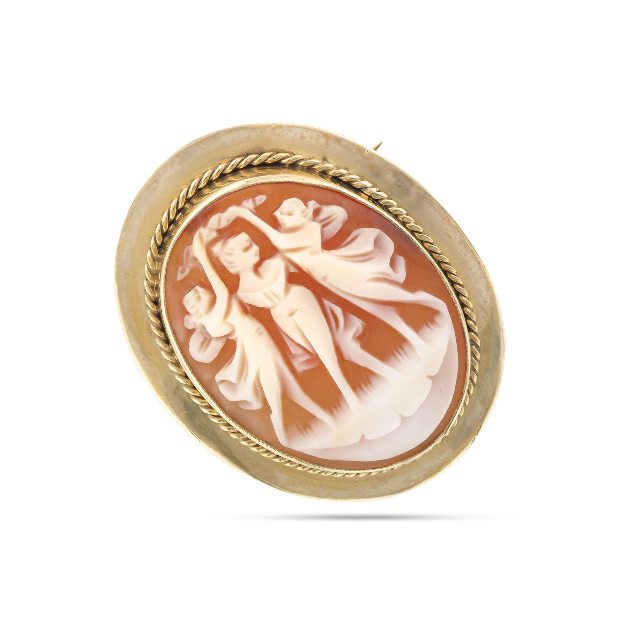 Vintage 9ct Yellow Gold Cameo Brooch