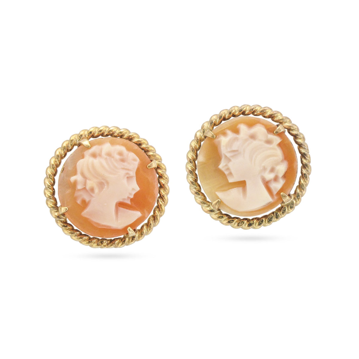 Vintage 9ct Yellow Gold Cameo Stud Earrings
