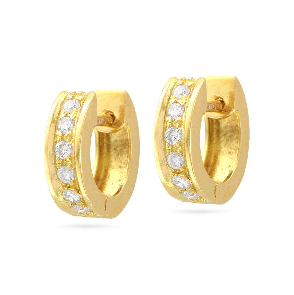 Vintage 18ct Yellow Gold Diamond Hoop Earrings