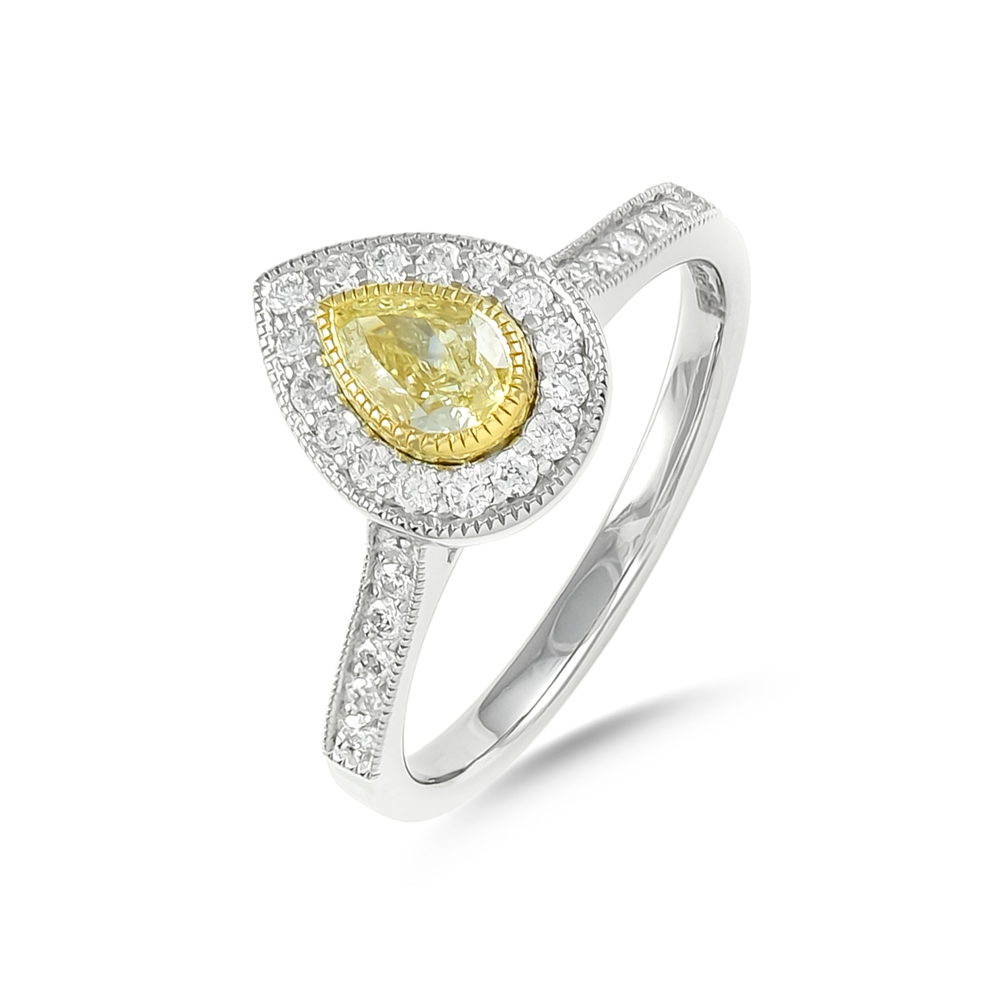 Pear-Cut Yellow Diamond Halo Engagement Ring