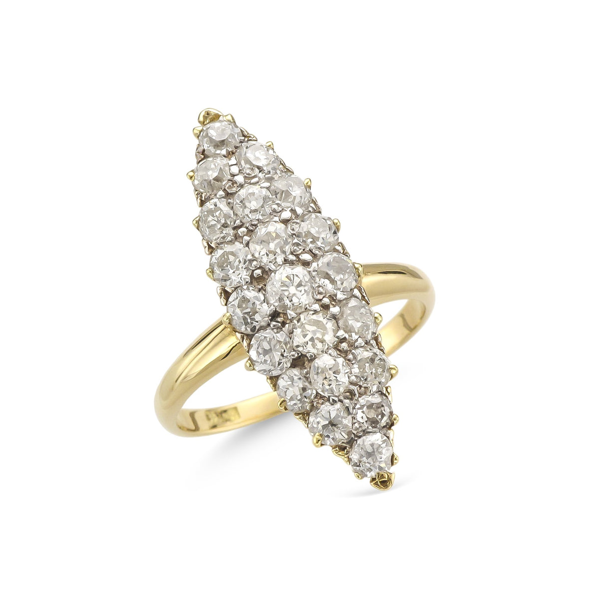 Vintage 18ct Yellow Gold Marquise Shape Diamond Cluster Ring