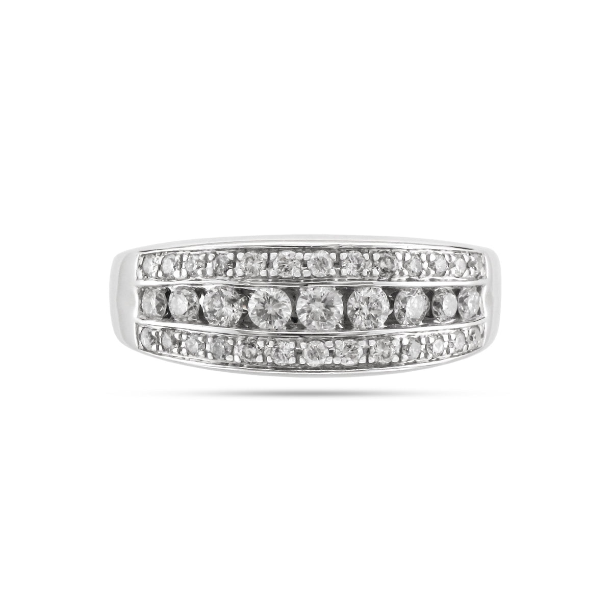 Vintage 18ct White Gold Three Row Diamond Ring