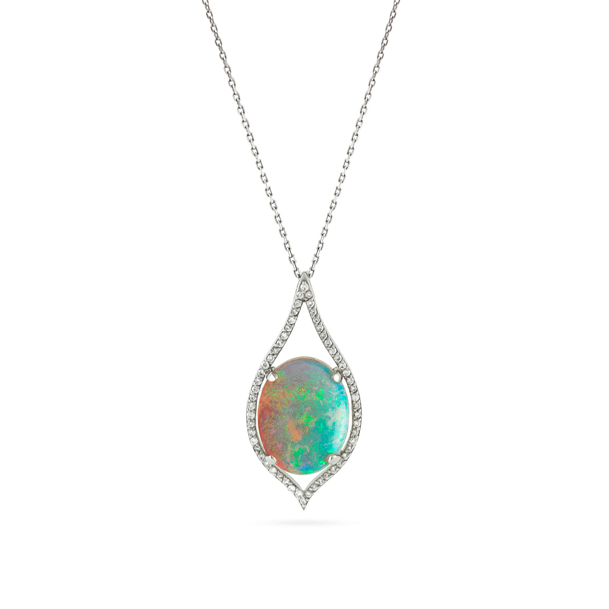 Platinum Opal and Diamond Teardrop Pendant