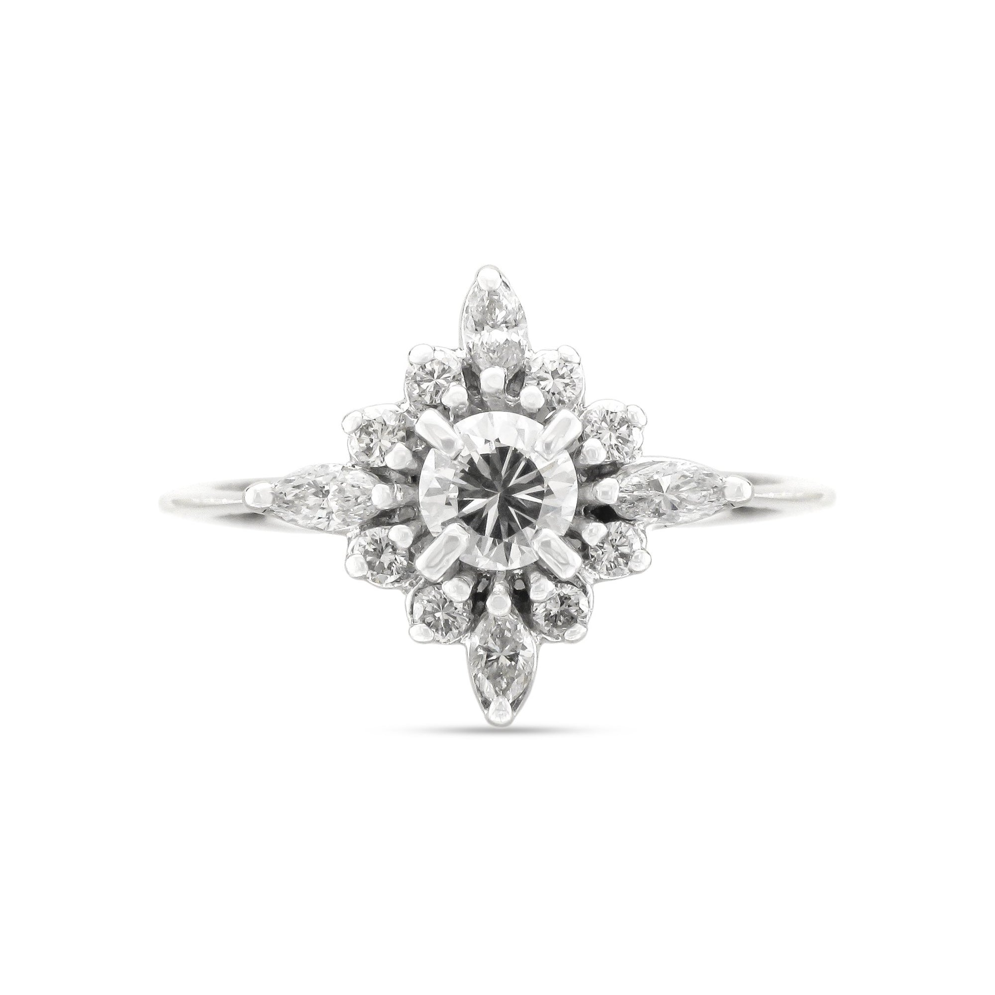 Vintage 18ct White Gold Diamond Cluster