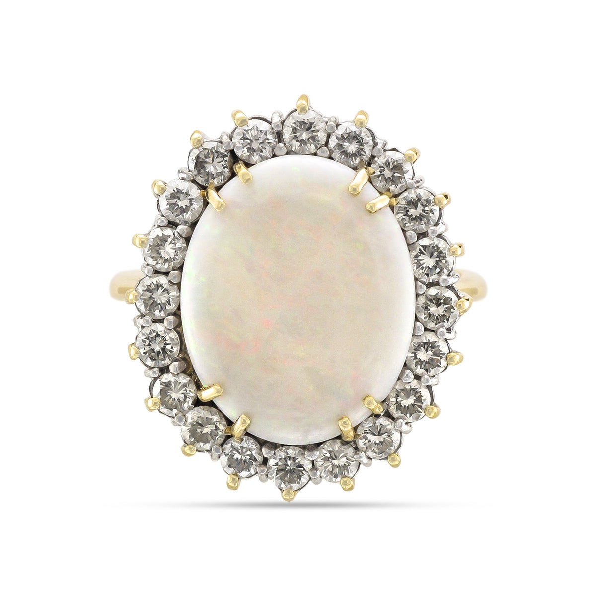 Vintage 14ct Yellow Gold Opal & Diamond Cluster