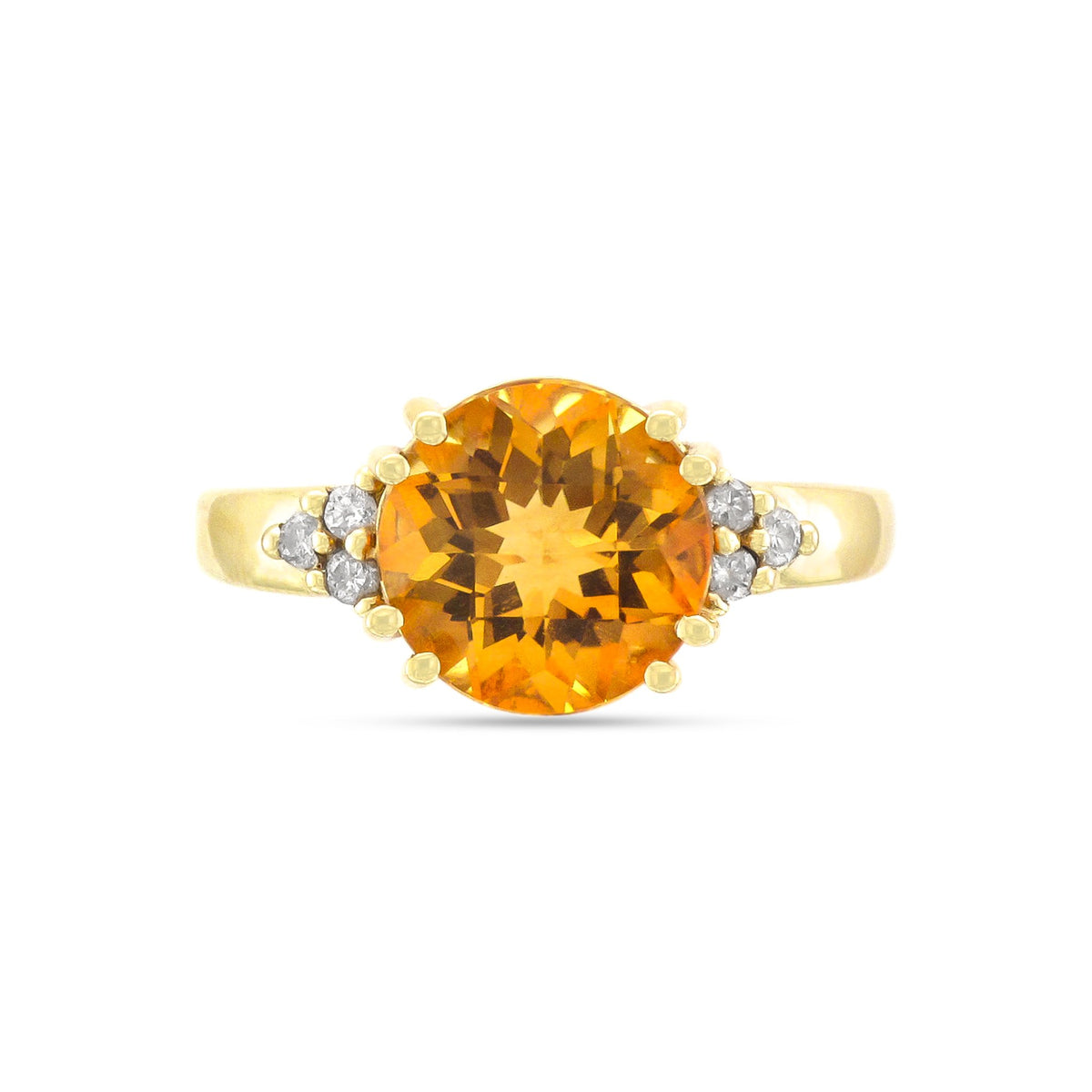 Vintage 14ct Yellow Gold Citrine & Diamond Ring