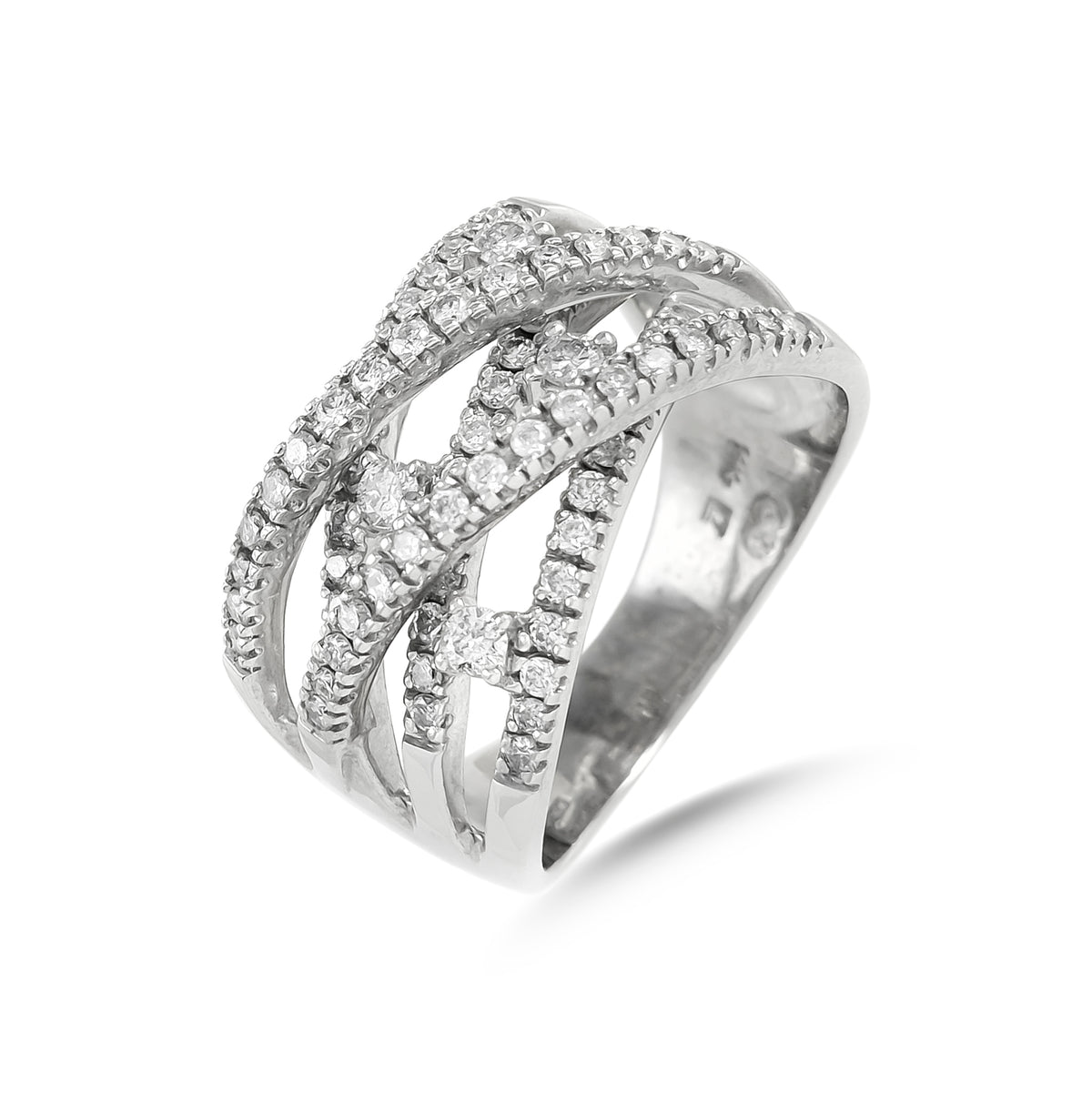 Vintage 14ct White Gold Five Row Diamond Crossover Ring