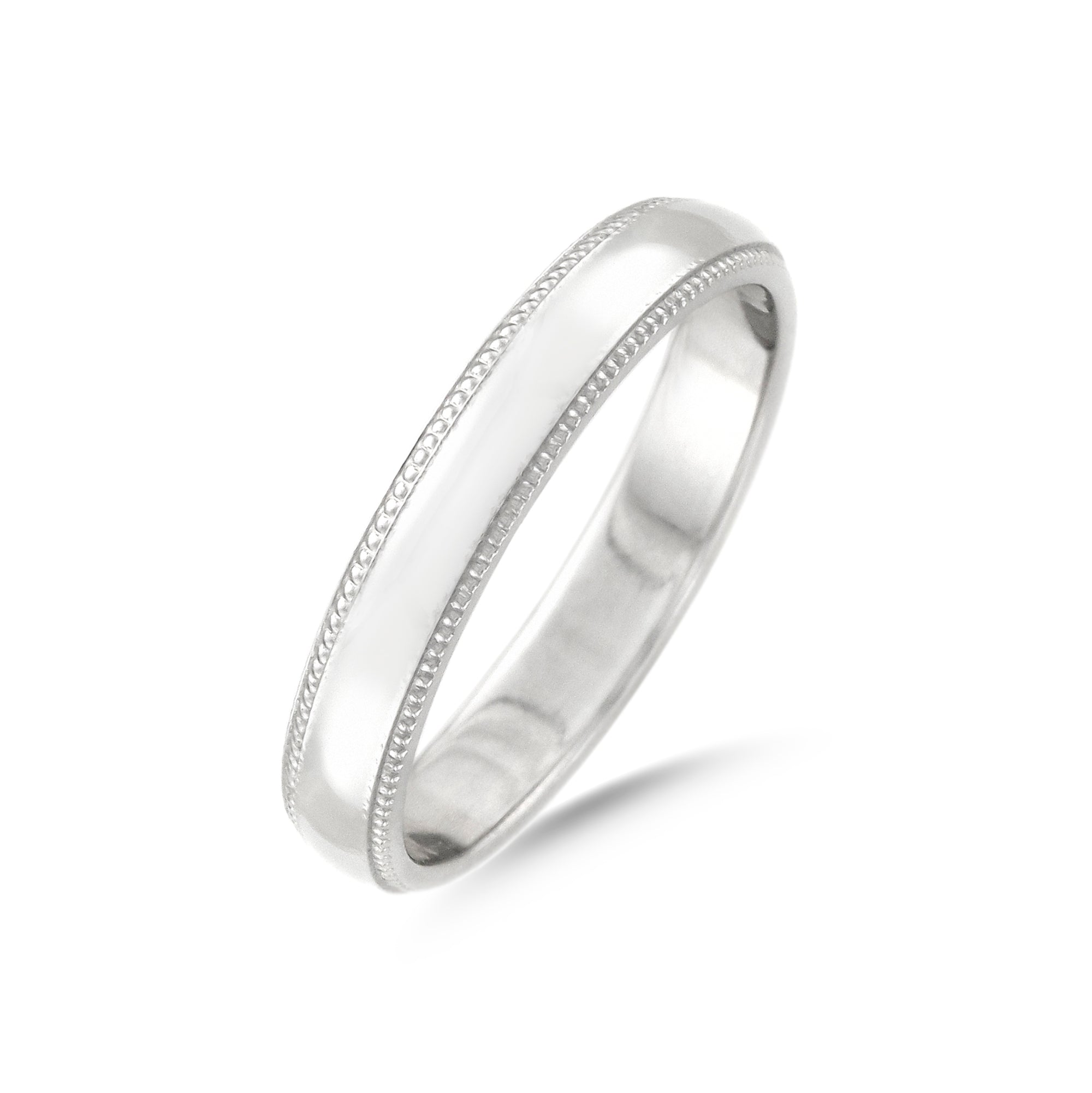 Platinum Milgrain Ladies D-Shape Wedding Band