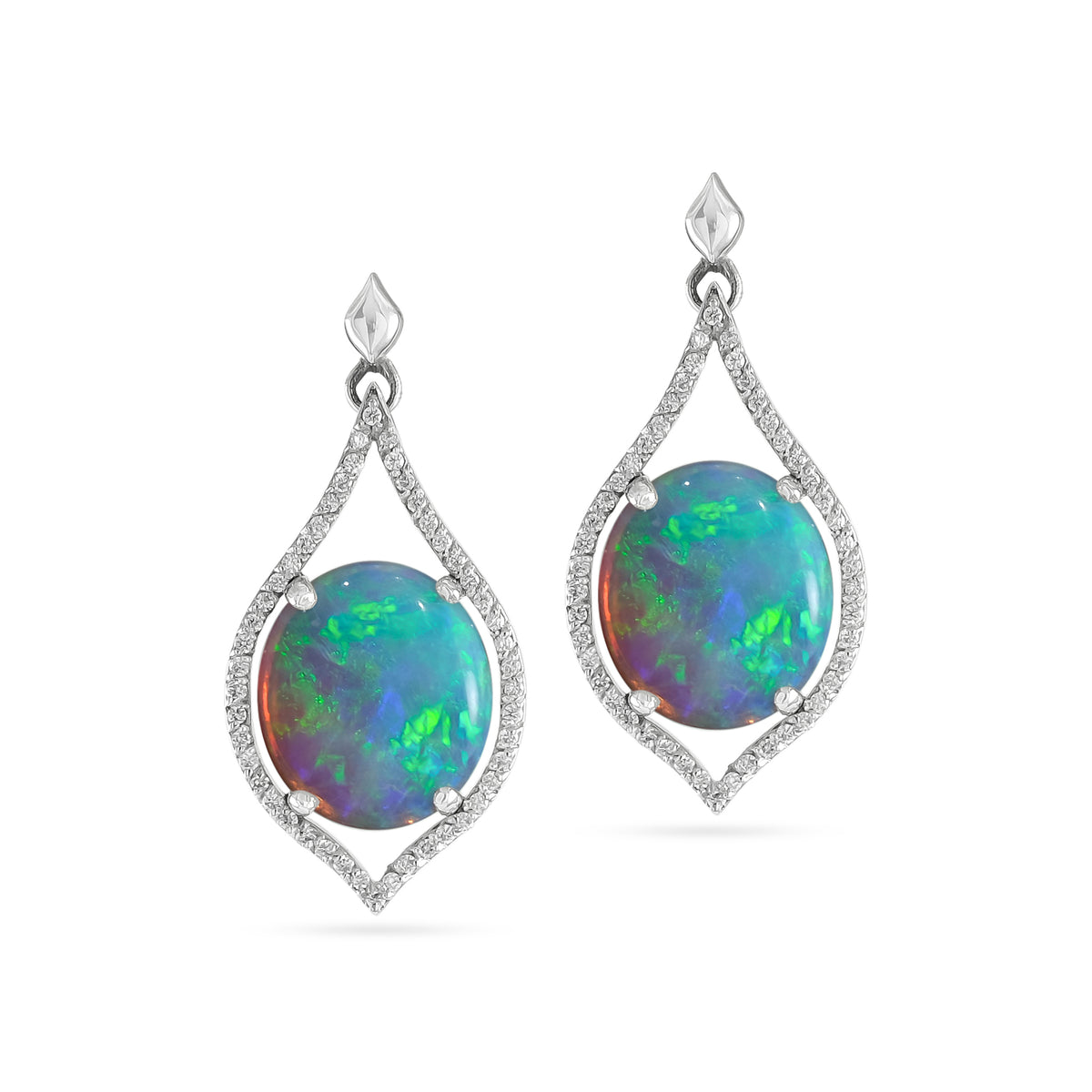 Platinum Opal and Diamond Teardrop Drop Earrings