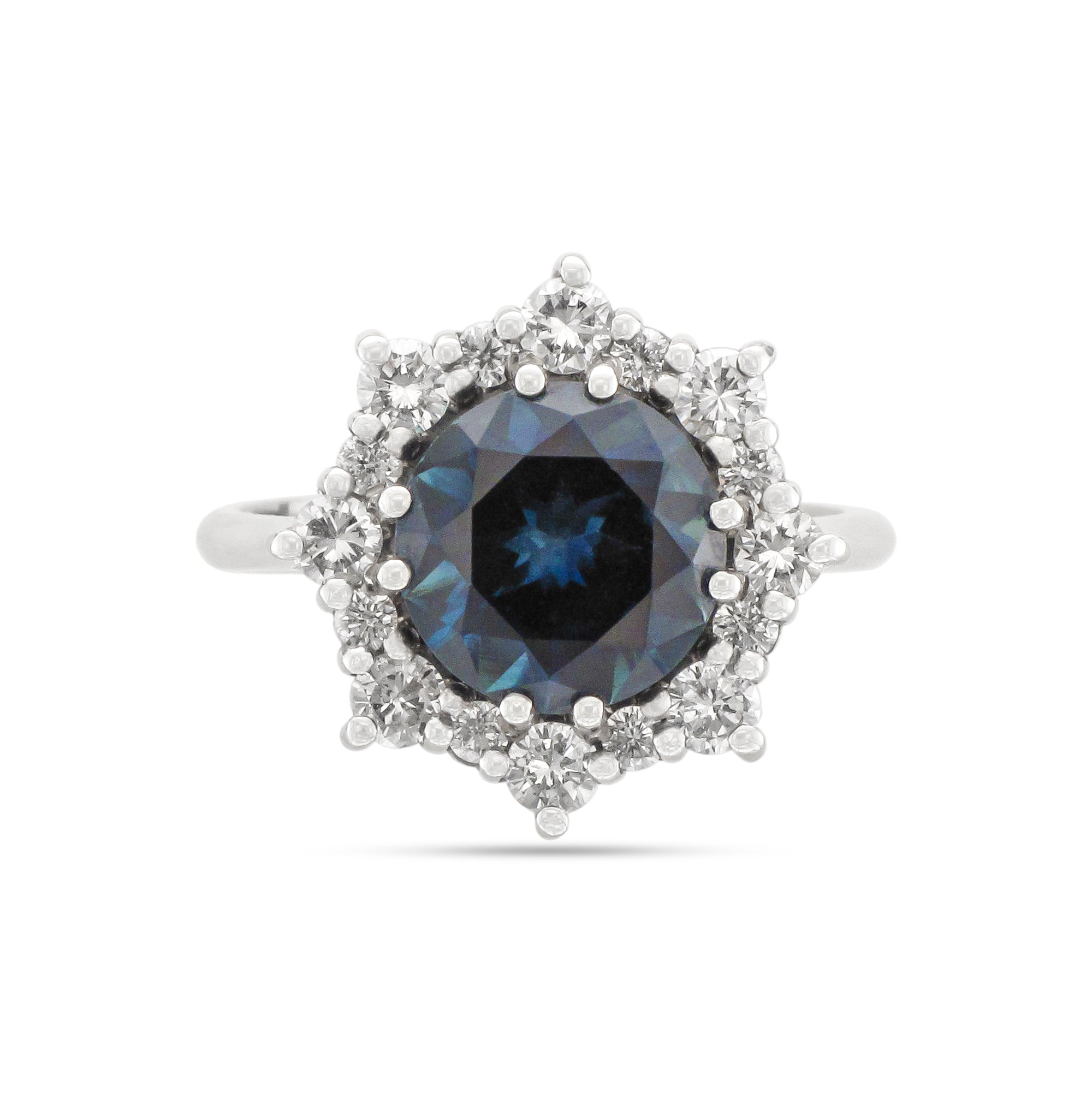 Platinum Sapphire and Diamond Cluster Ring