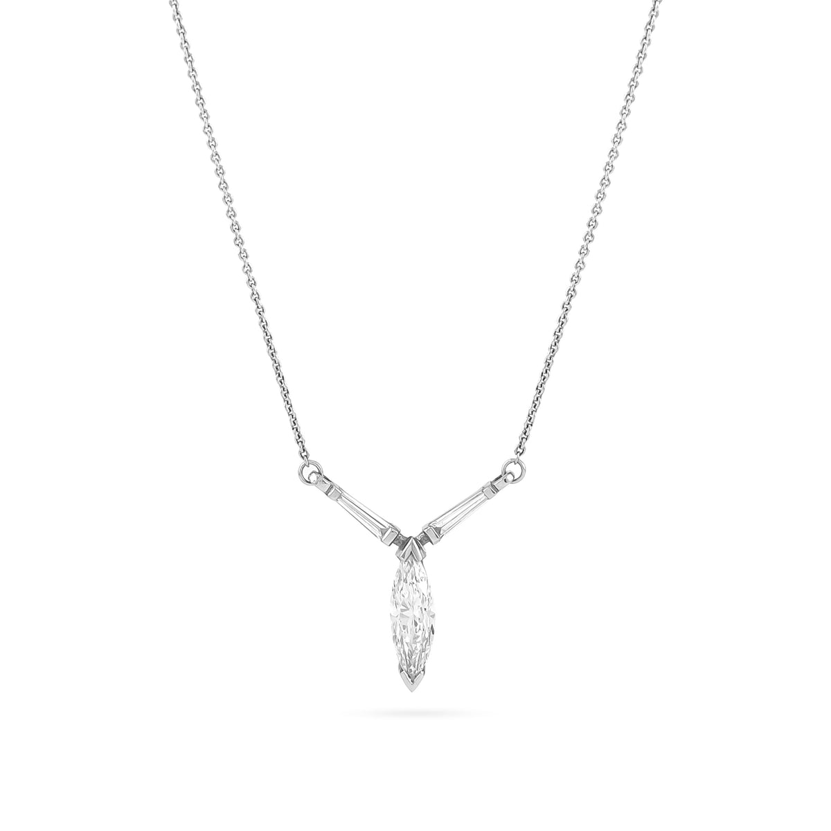 Platinum Three Stone Diamond Necklace