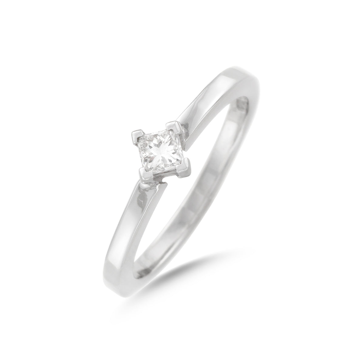 0.20ct Princess-Cut Solitaire Diamond Engagement Ring