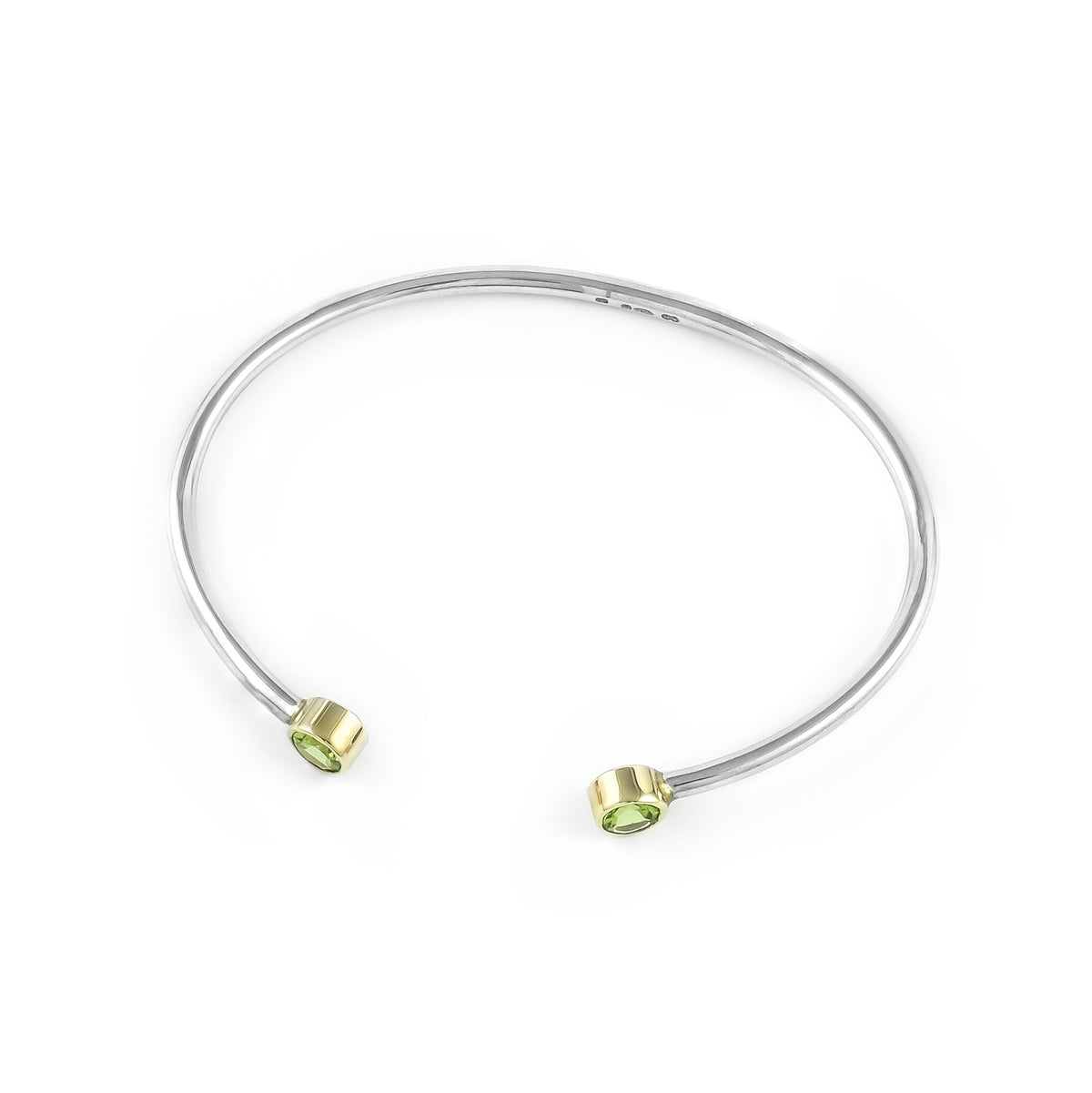 Sterling Silver Handmade Peridot Bangle