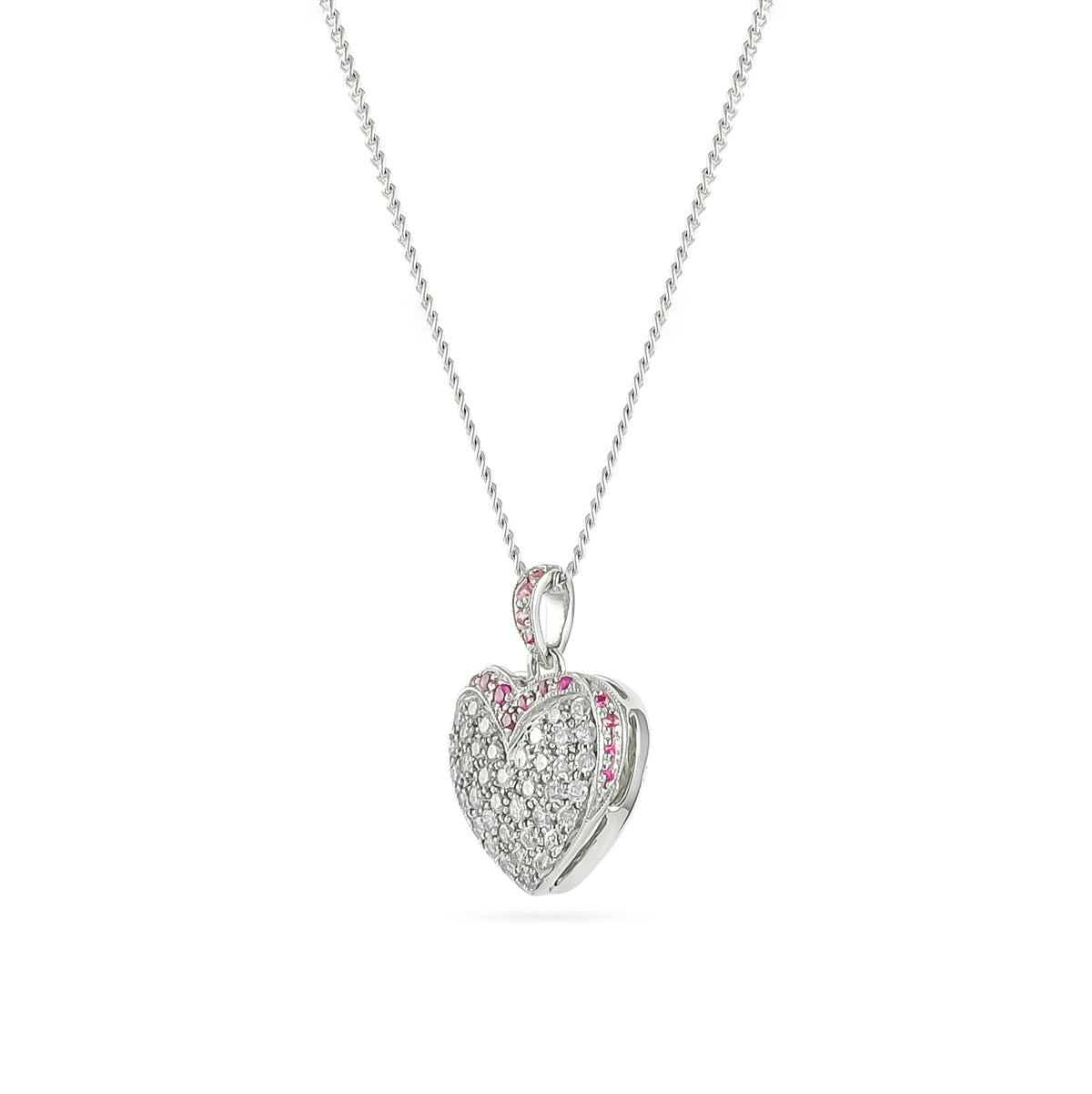 Vintage 14ct White Gold Ruby and Diamond Heart Pendant