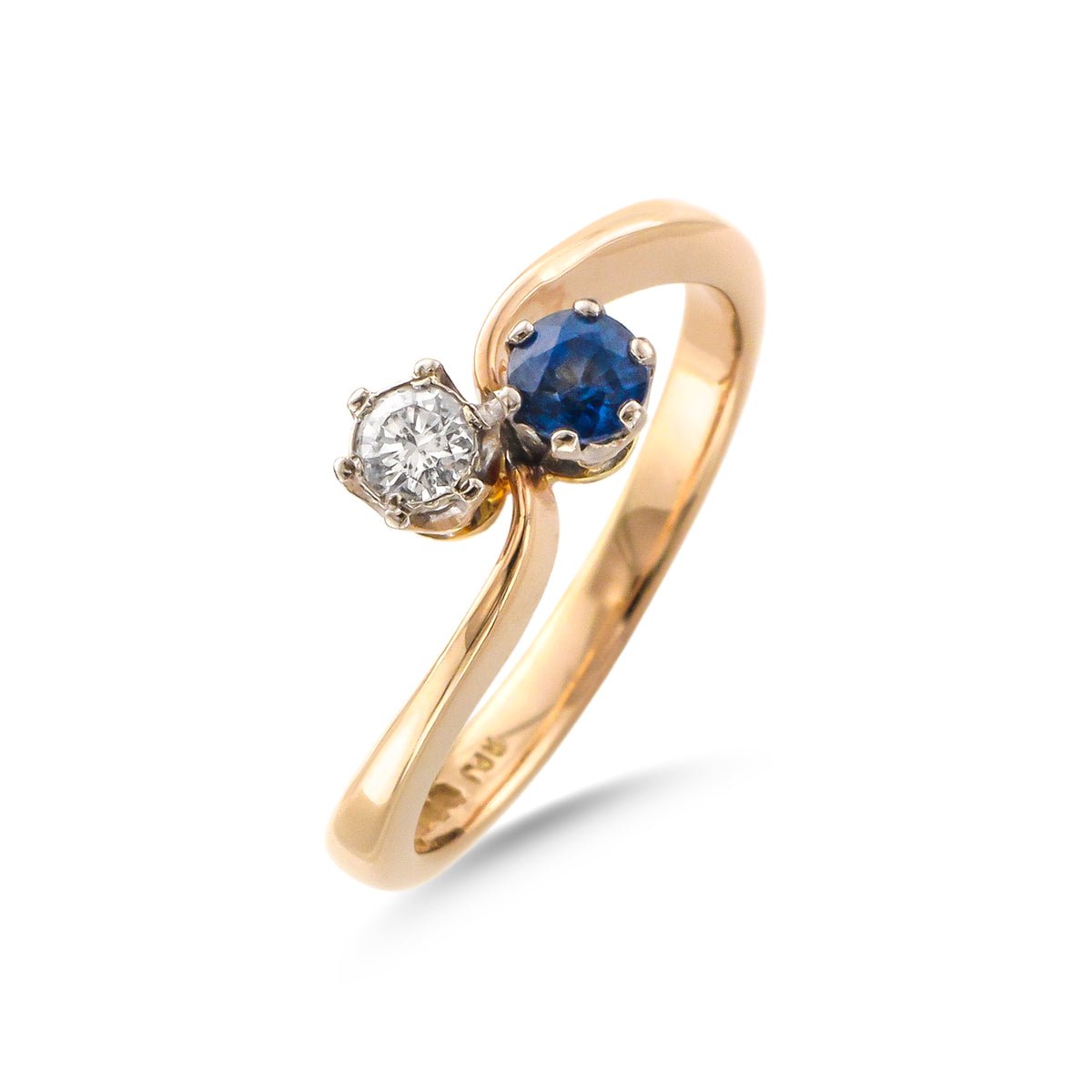 Vintage 14ct Yellow Gold Sapphire and Diamond Ring