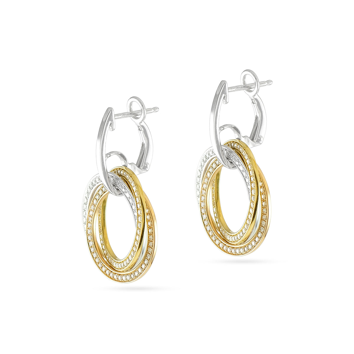 Vintage 18ct Tri-Colour Diamond Circle Drop Earrings
