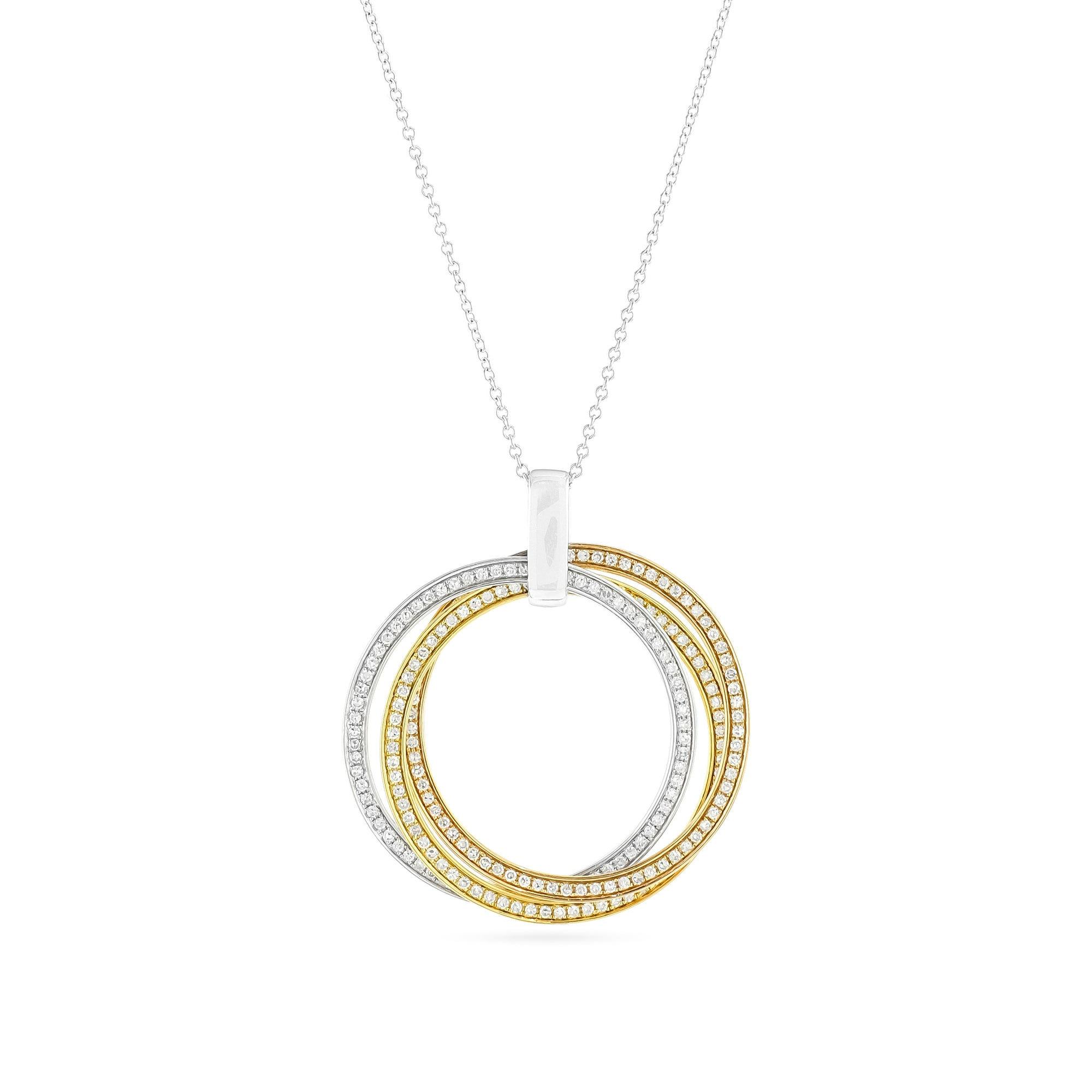 Vintage 18ct Tri-Colour Diamond Circle Necklace