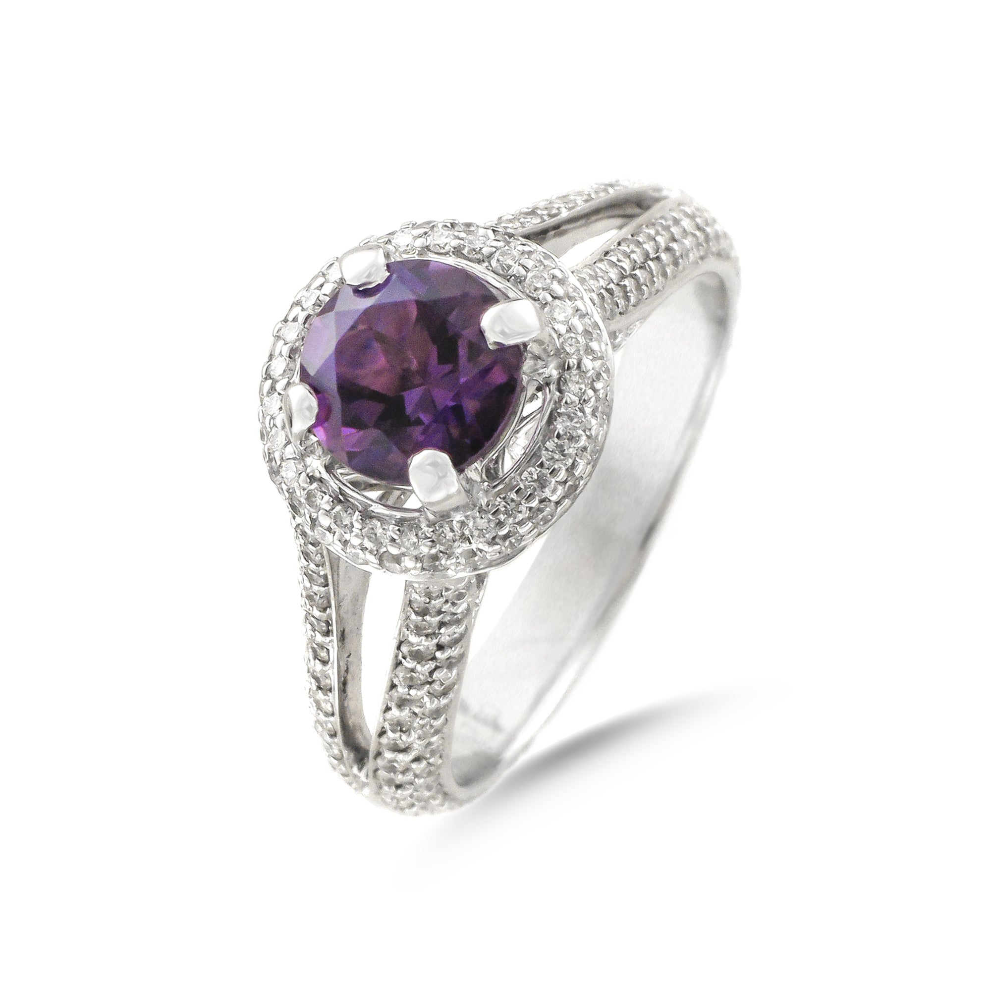 Vintage 18ct White Gold Amethyst and Diamond Ring