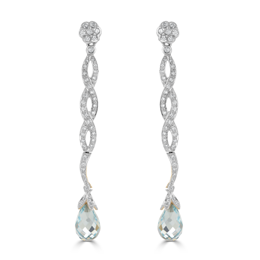 Vintage 18ct White Gold Aquamarine and Diamond Drop Earrings