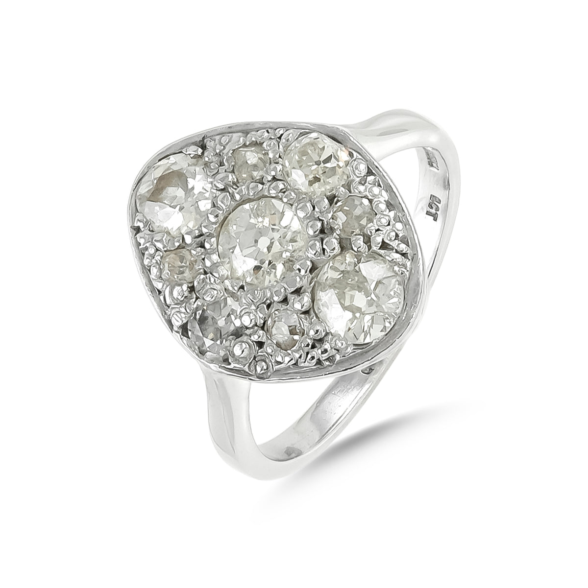 Vintage 18ct White Gold Diamond Cluster Ring