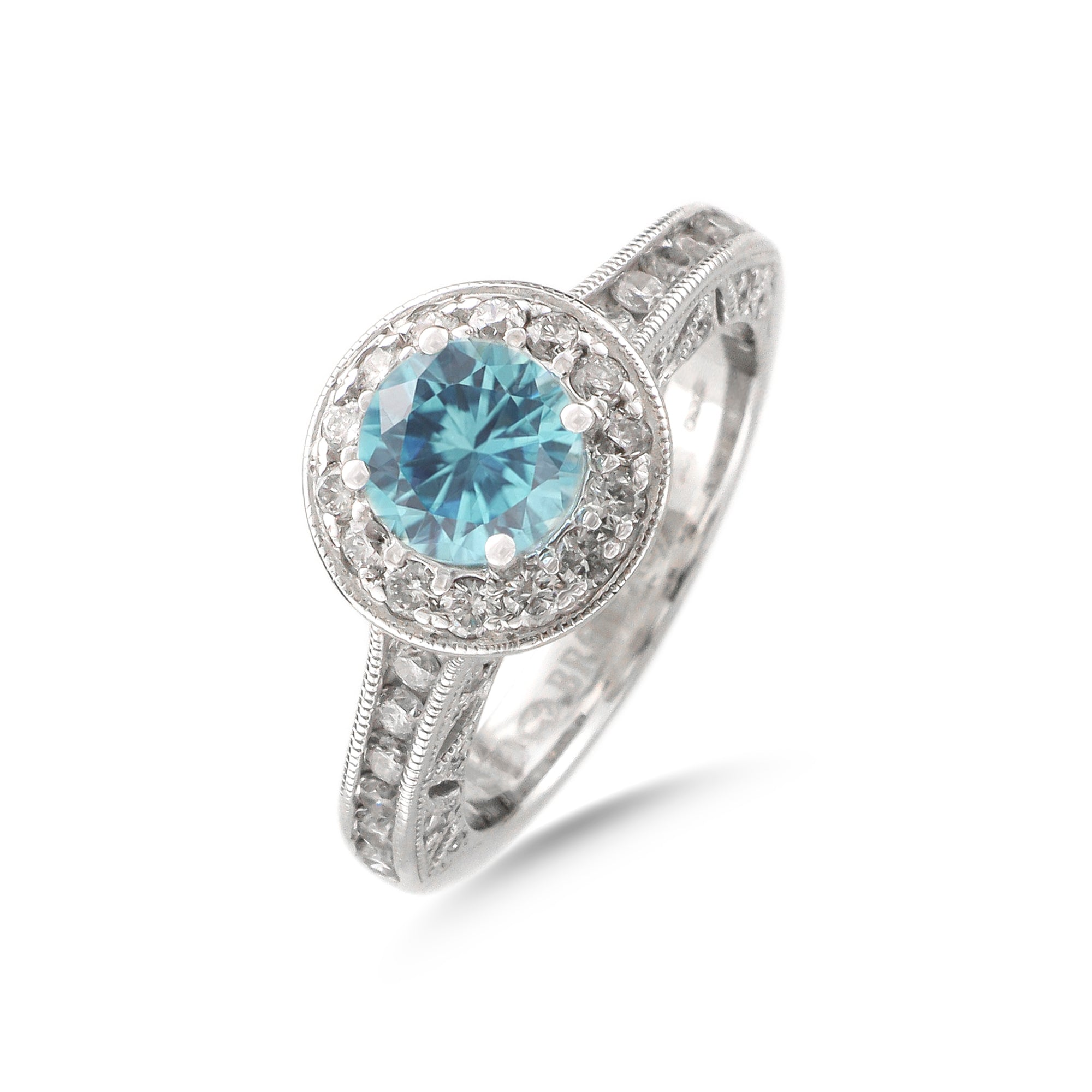 Vintage 18ct White Gold Halo Aquamarine Ring