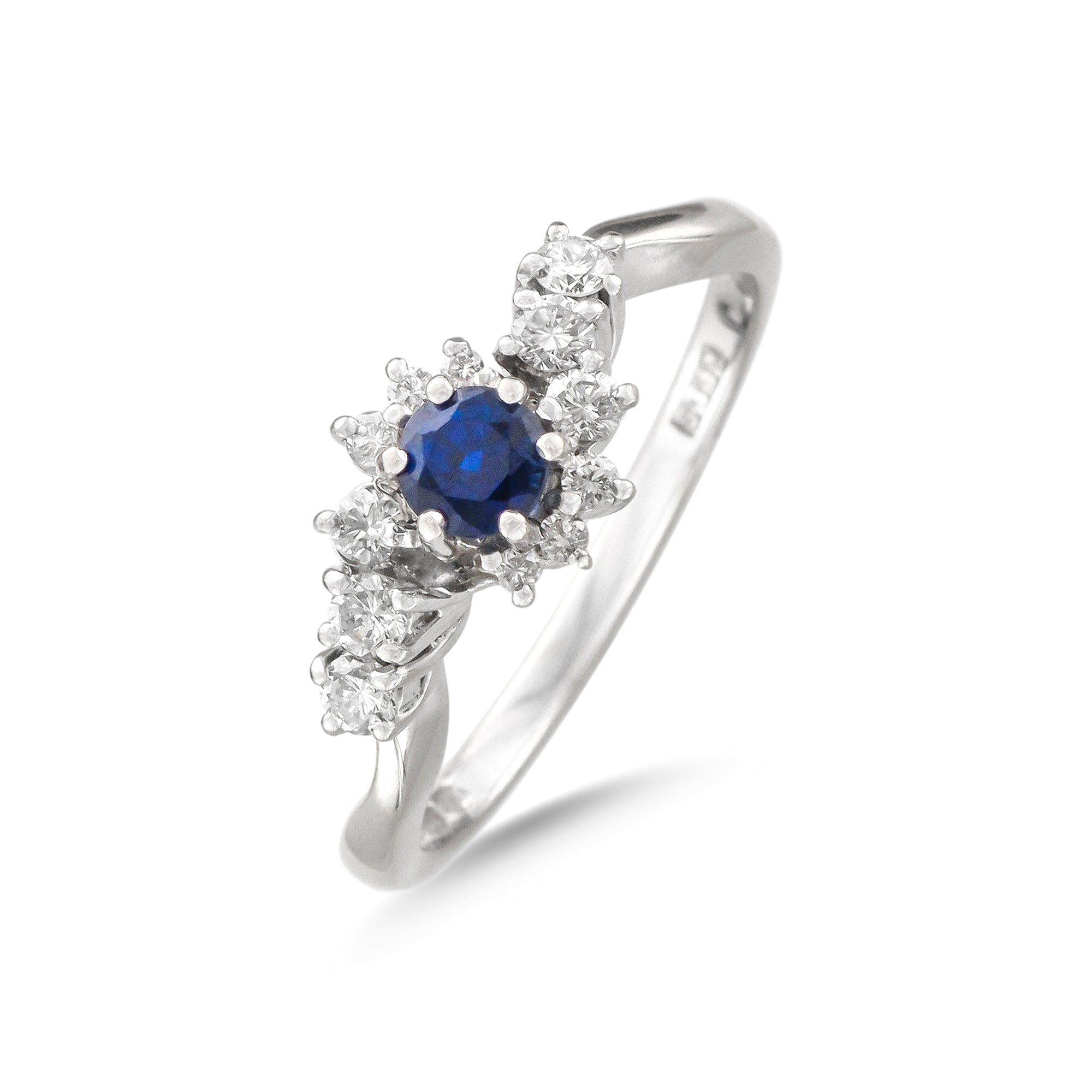 Vintage 18ct White Gold Sapphire and Diamond Crossover Ring