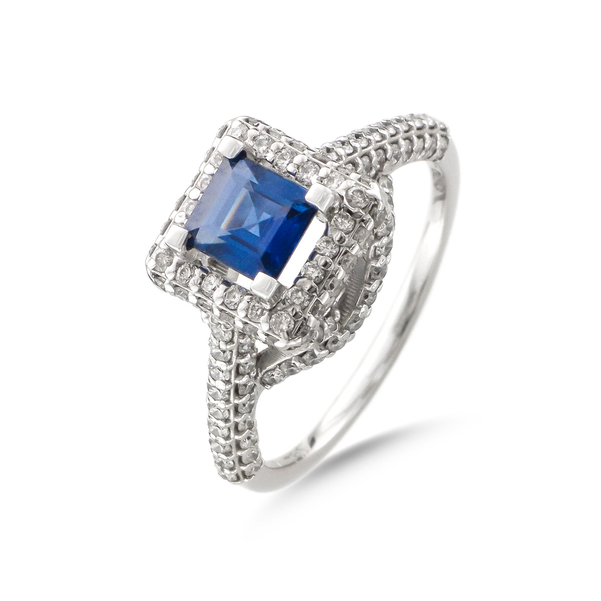 Vintage 18ct White Gold Halo Sapphire and Diamond Ring