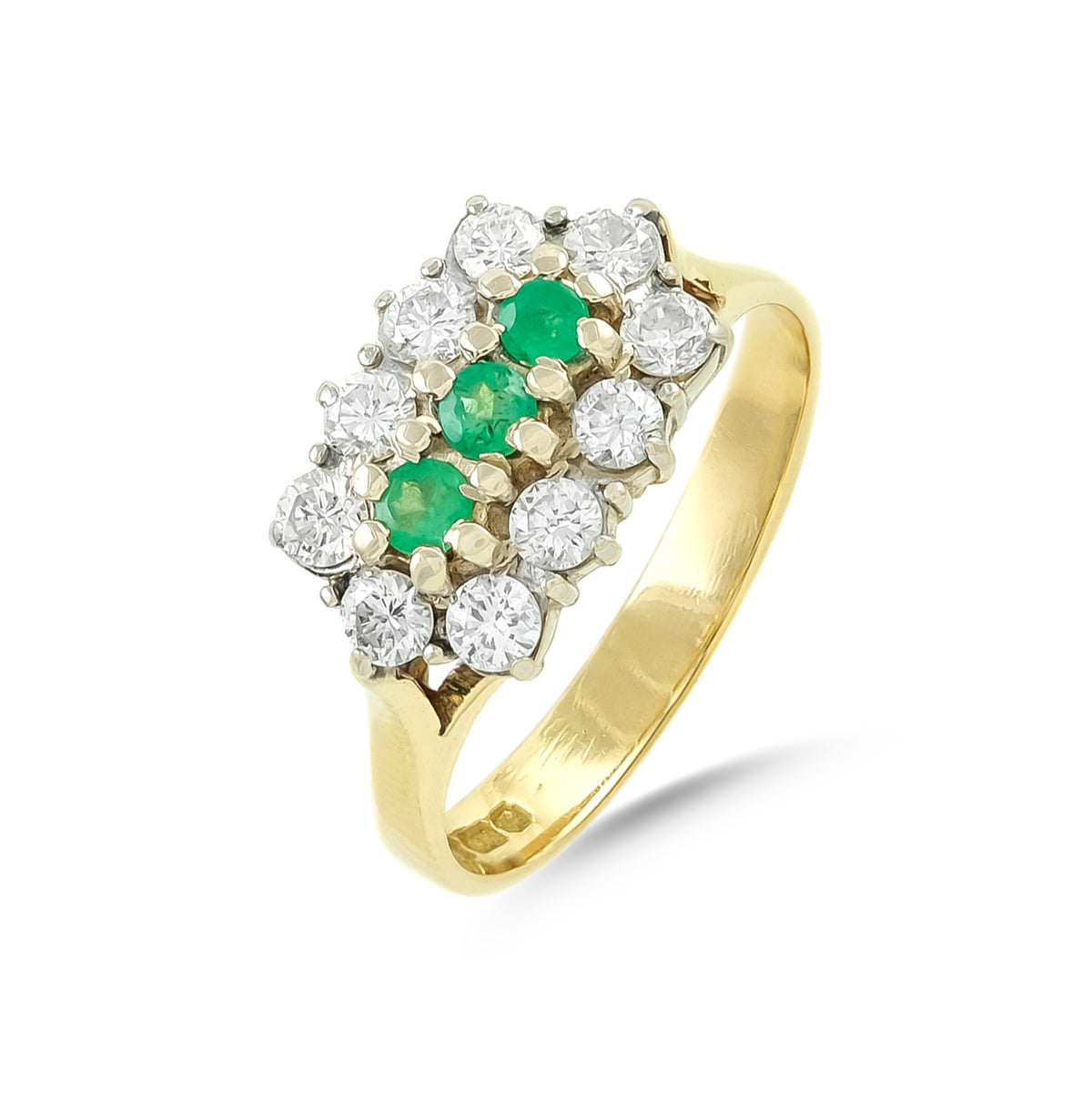 Vintage 18ct Yellow Gold Emerald and Diamond Cluster Ring