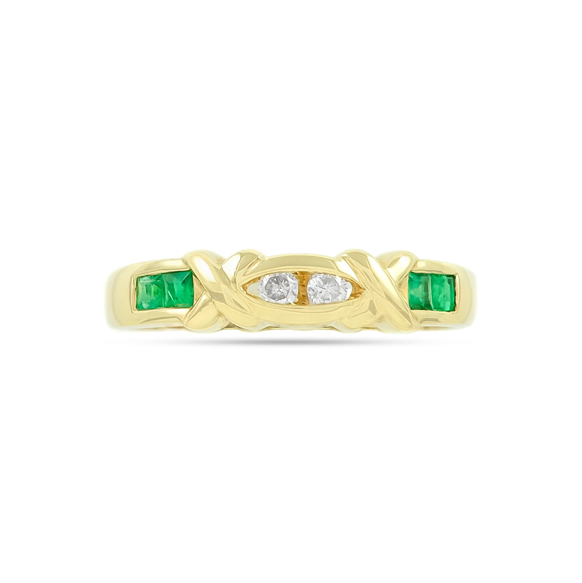 Vintage 18ct Yellow Gold Emerald and Diamond Ring