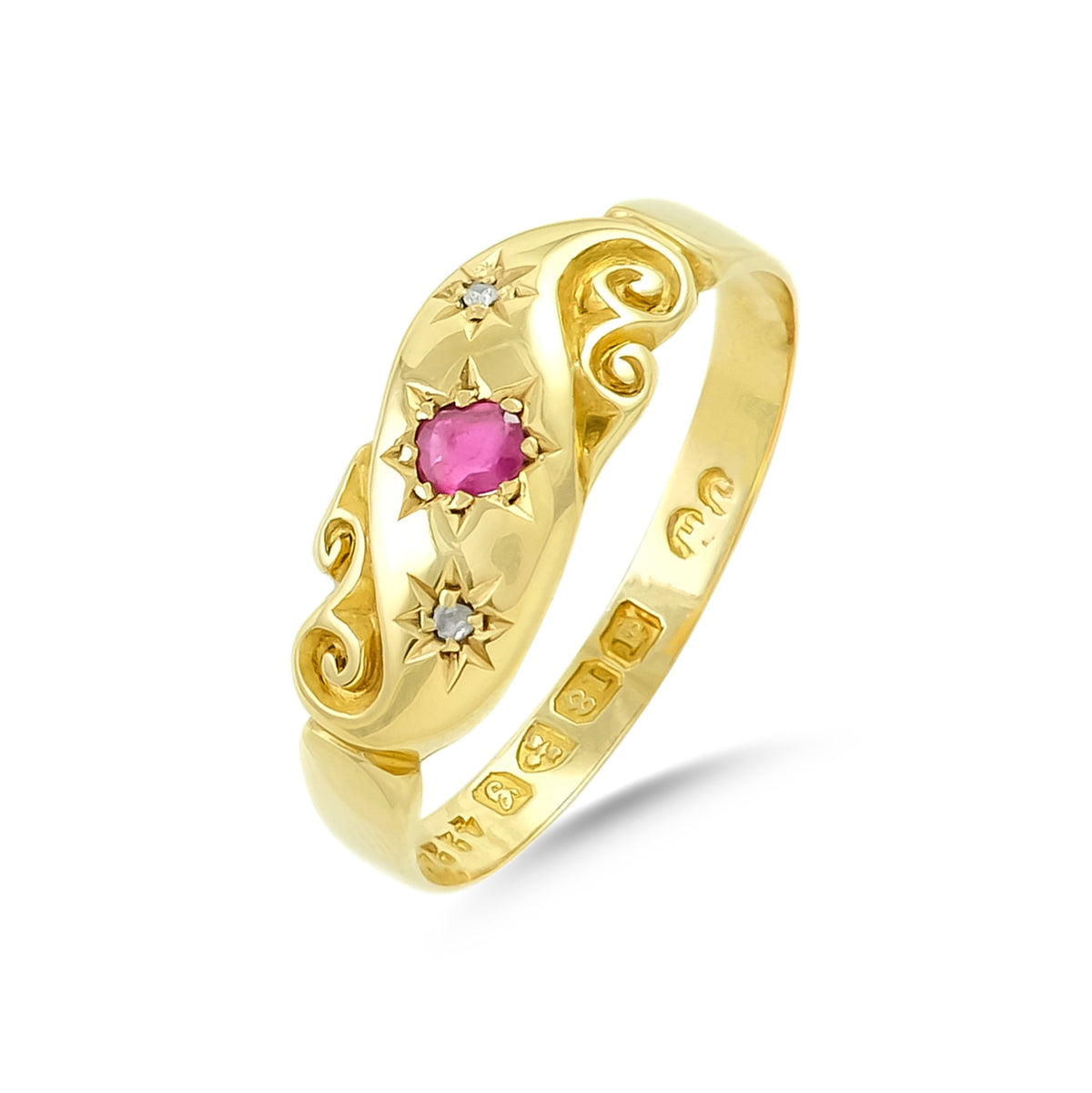 Vintage 18ct Yellow Gold Ruby and Diamond Gypsy Ring