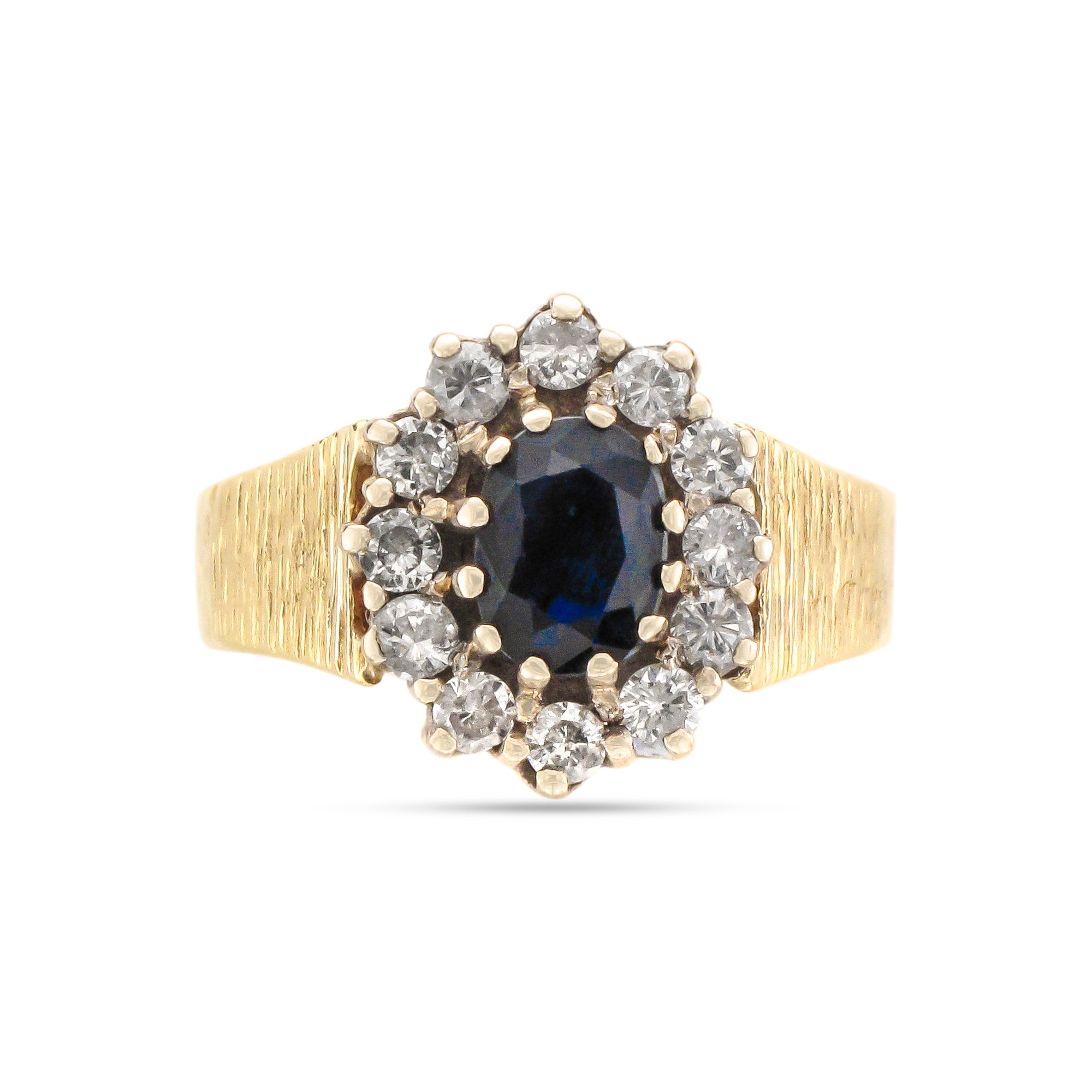 Vintage 18ct Yellow Gold Sapphire and Diamond Cluster Ring