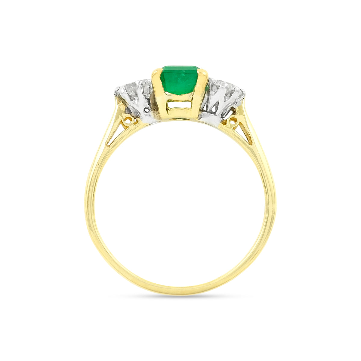 Vintage 18ct Yellow Gold Three Stone Emerald and Diamond Ring