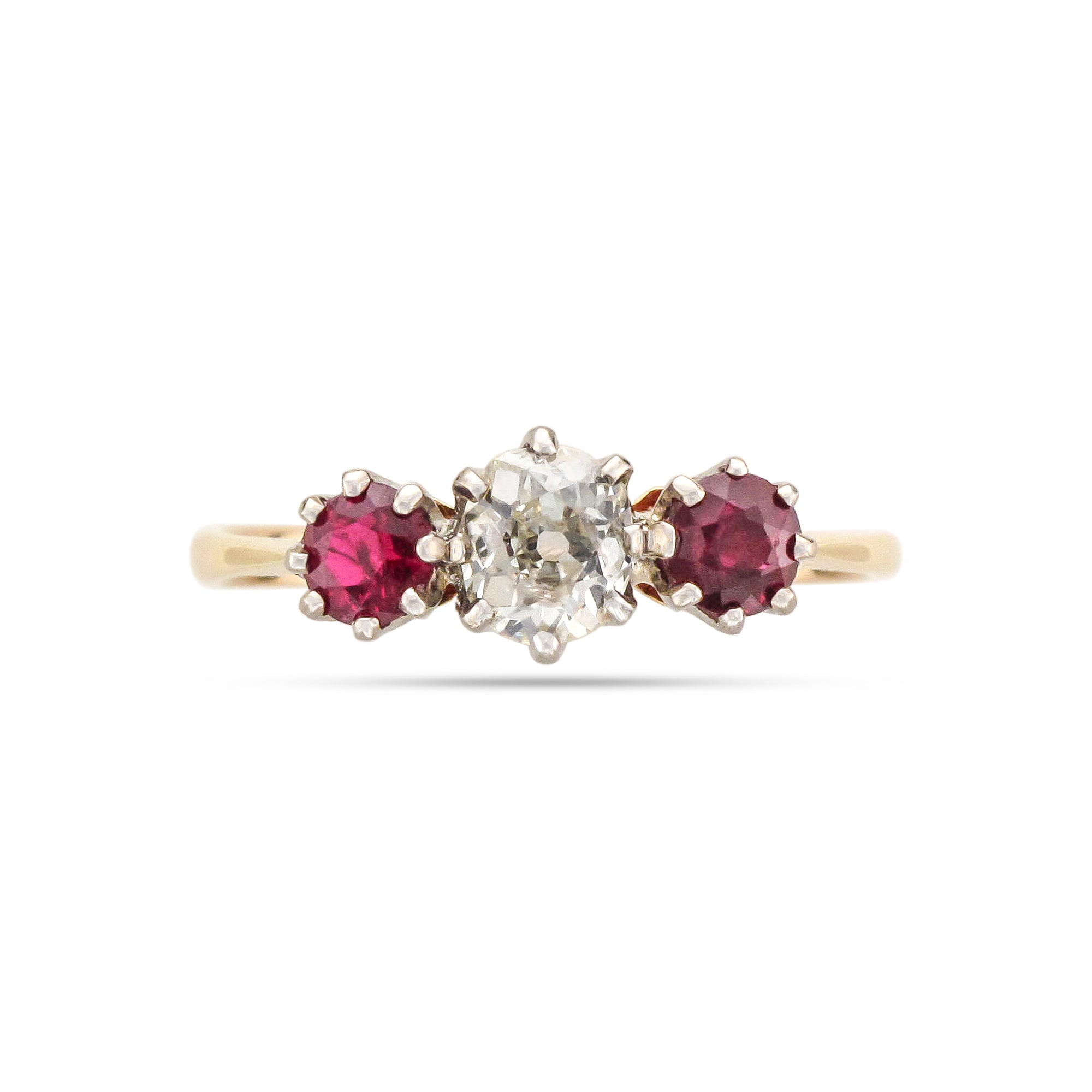 Vintage 18ct Yellow Gold Three Stone Ruby and Diamond Ring