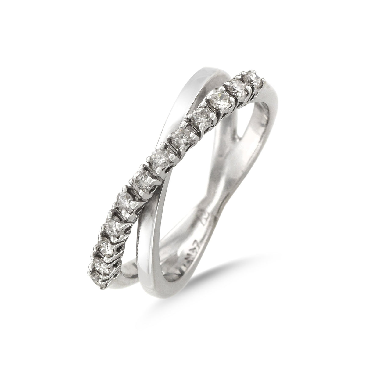 18ct White Gold Diamond Set Crossover Ring