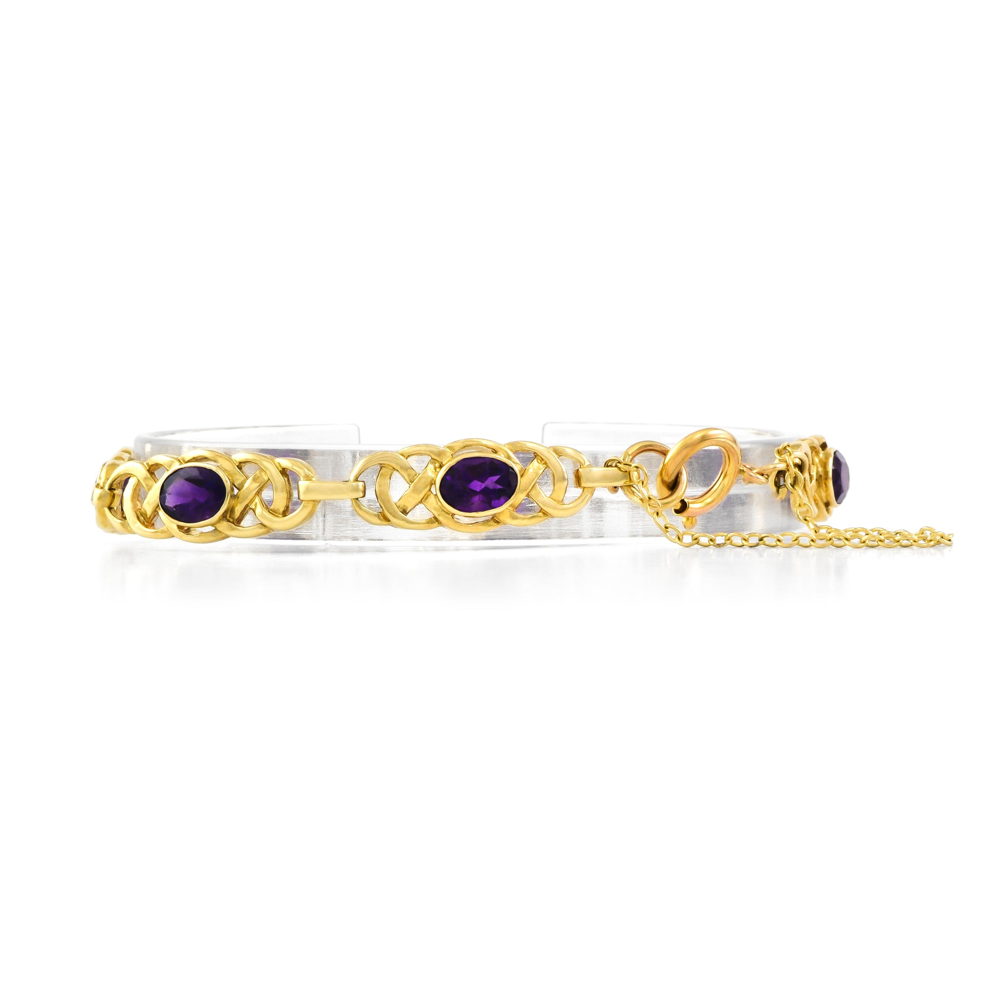 Vintage 9ct Yellow Gold Amethyst Bracelet