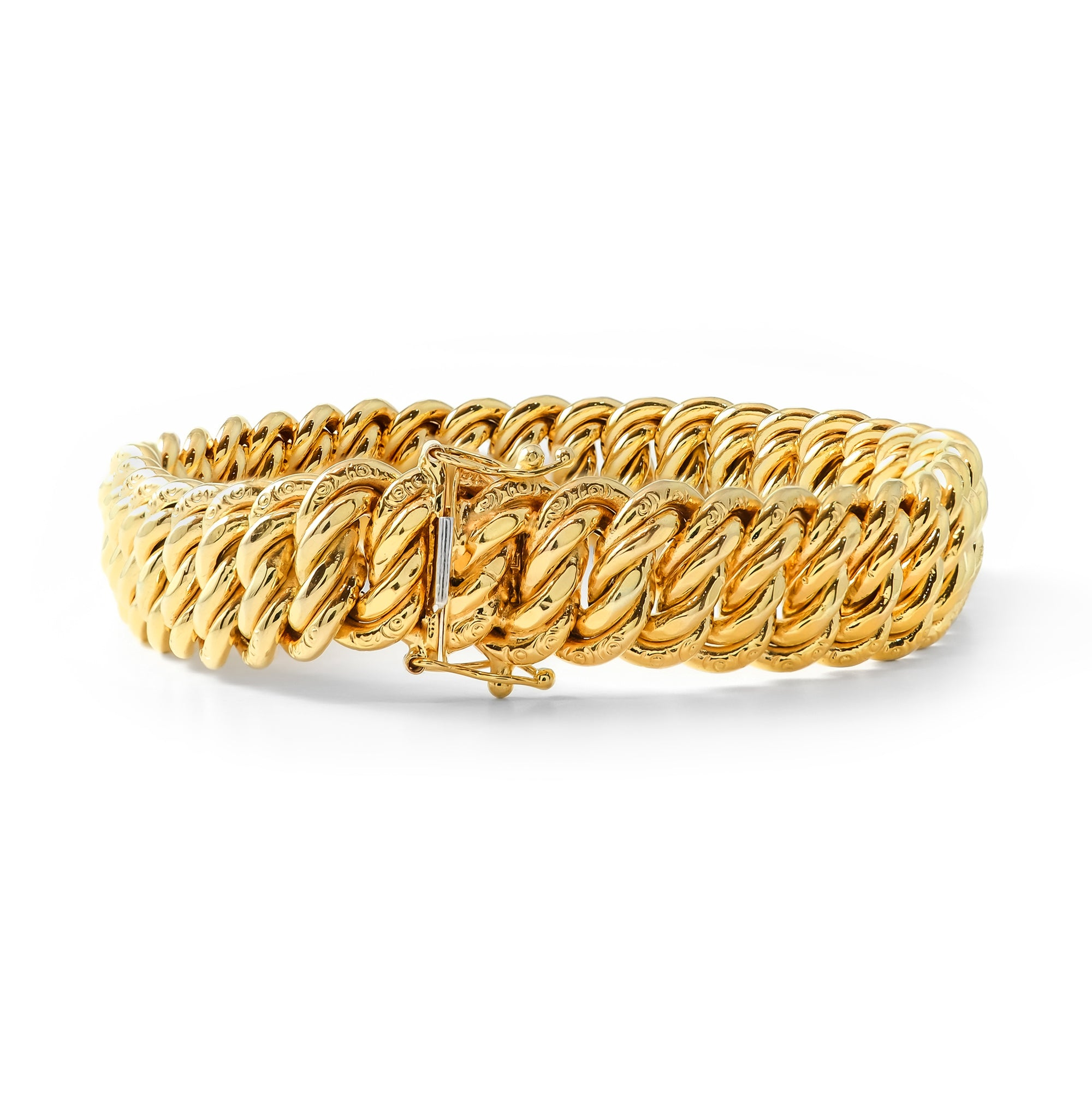 Vintage 9ct Yellow Gold Double Curb Bracelet