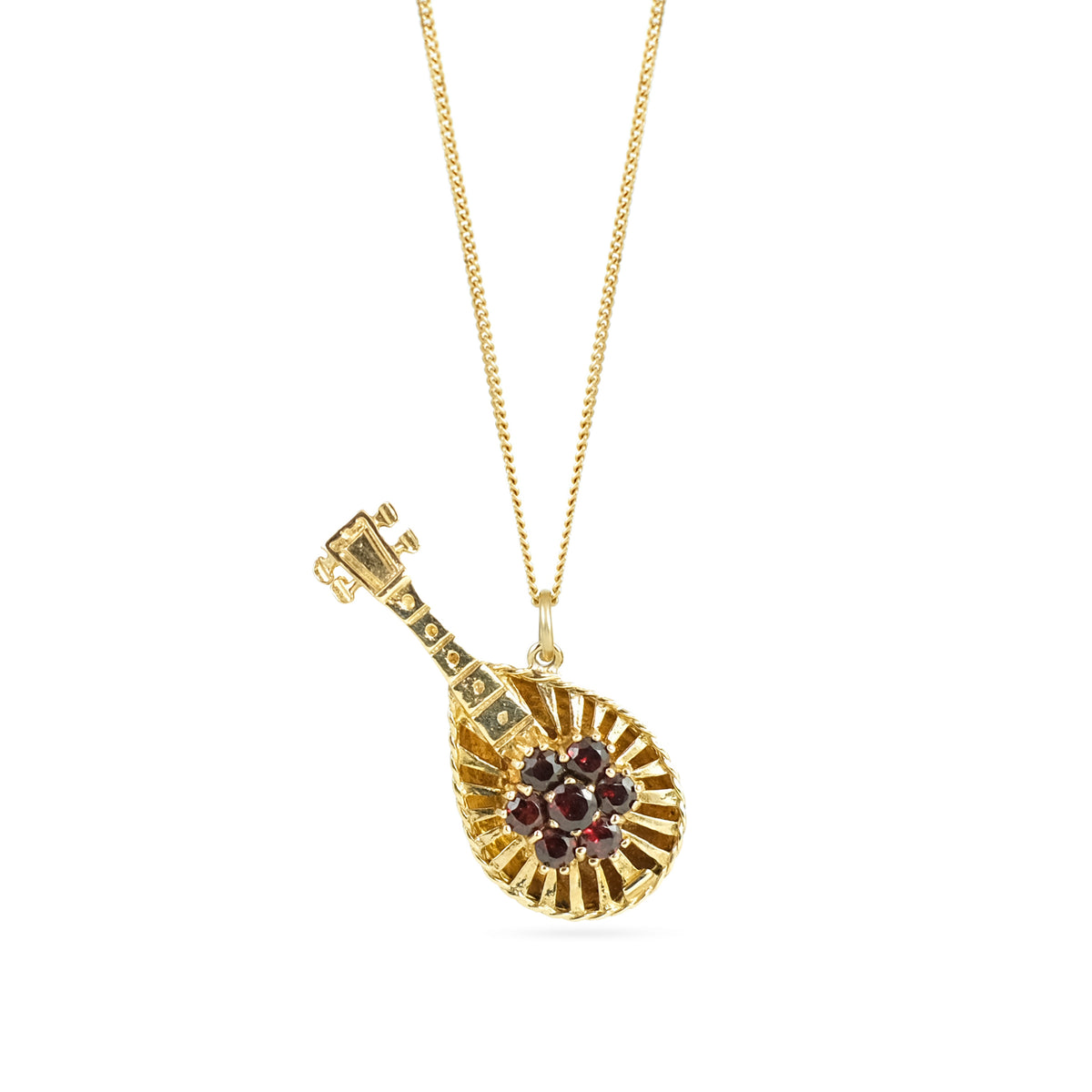 Vintage 9ct Yellow Gold Garnet Lute Pendant