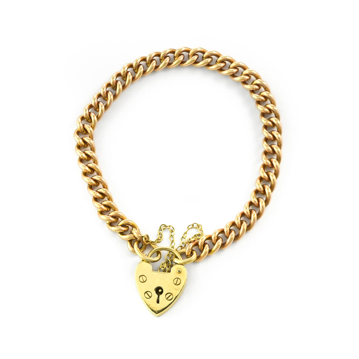 Vintage 9ct Yellow Gold Heart Curb Bracelet