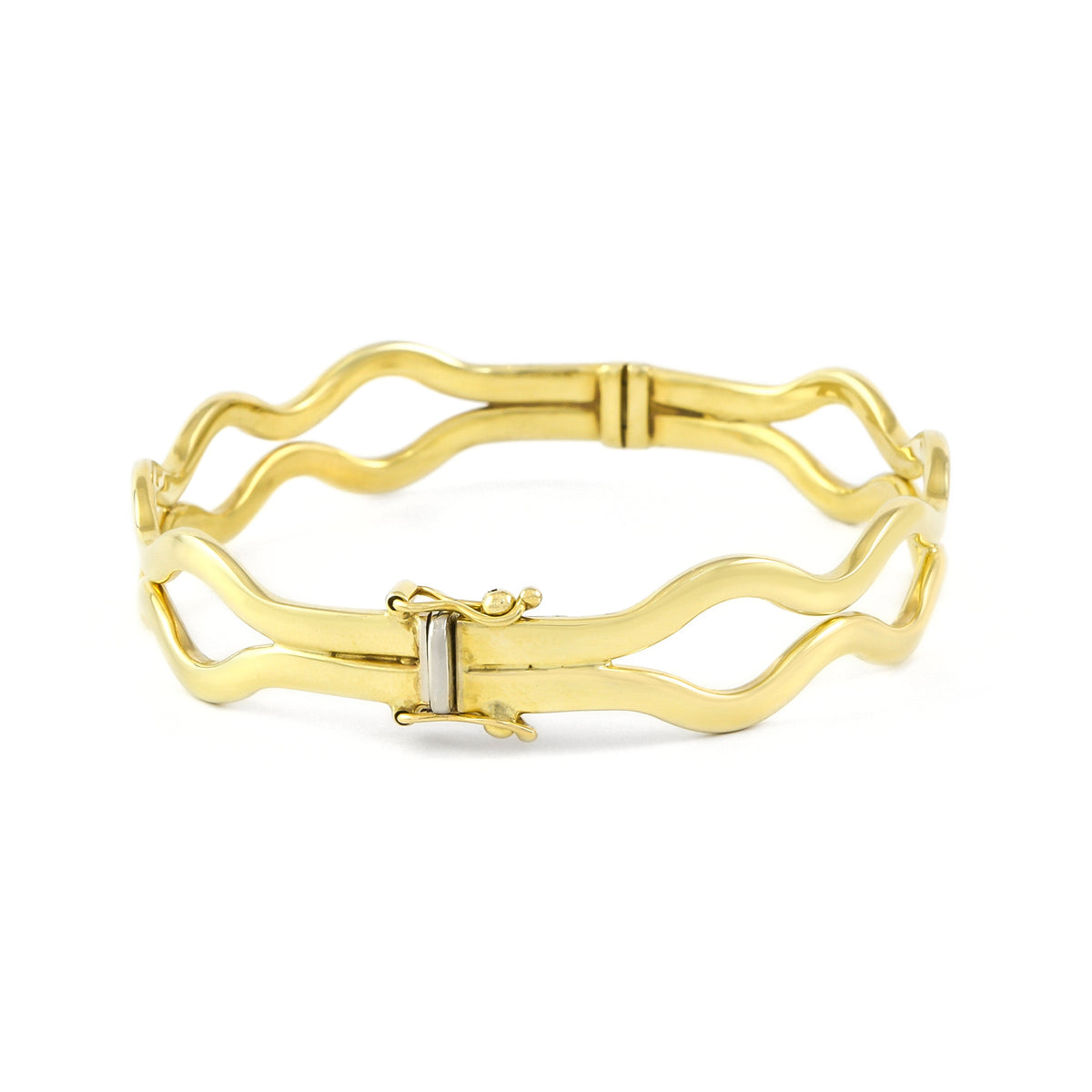 Vintage 9ct Yellow Gold Hinged Bangle