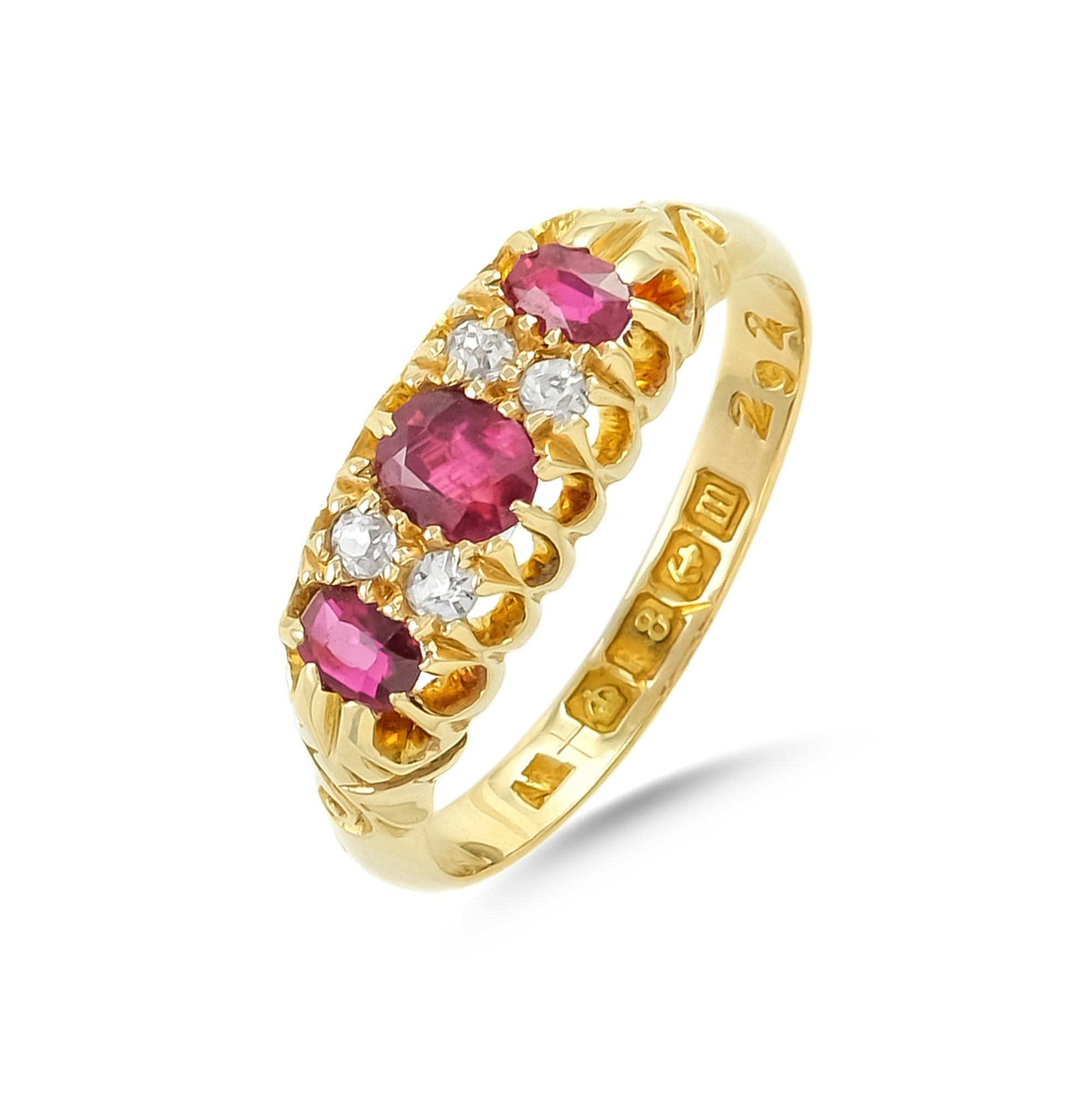 Vintage 9ct Yellow Gold Ruby and Diamond Ring