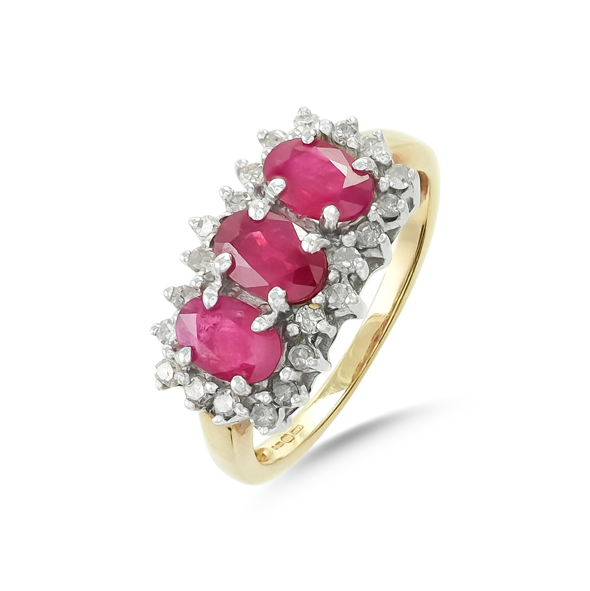 Vintage 9ct Yellow Gold Three Stone Ruby Ring