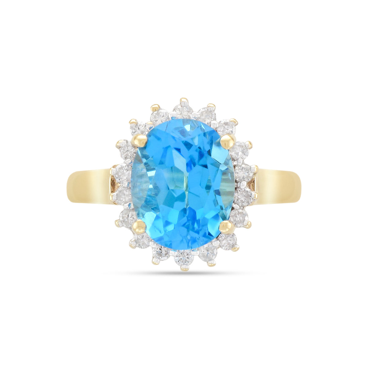 Vintage 9ct Yellow Gold Topaz and Diamond Cluster Ring