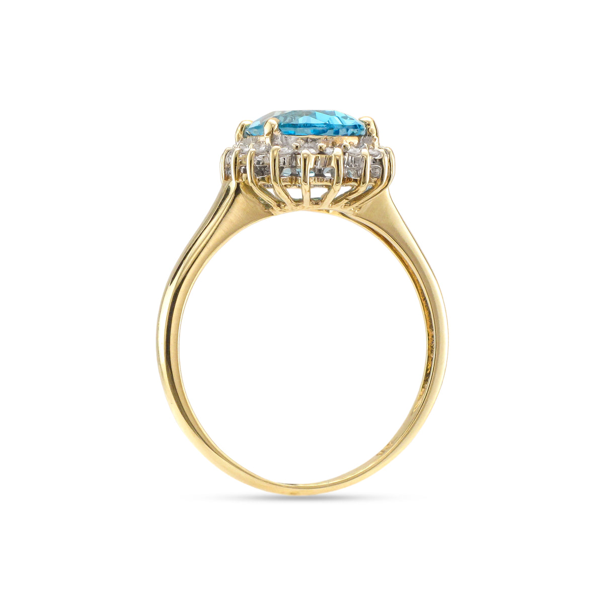 Vintage 9ct Yellow Gold Topaz and Diamond Ring