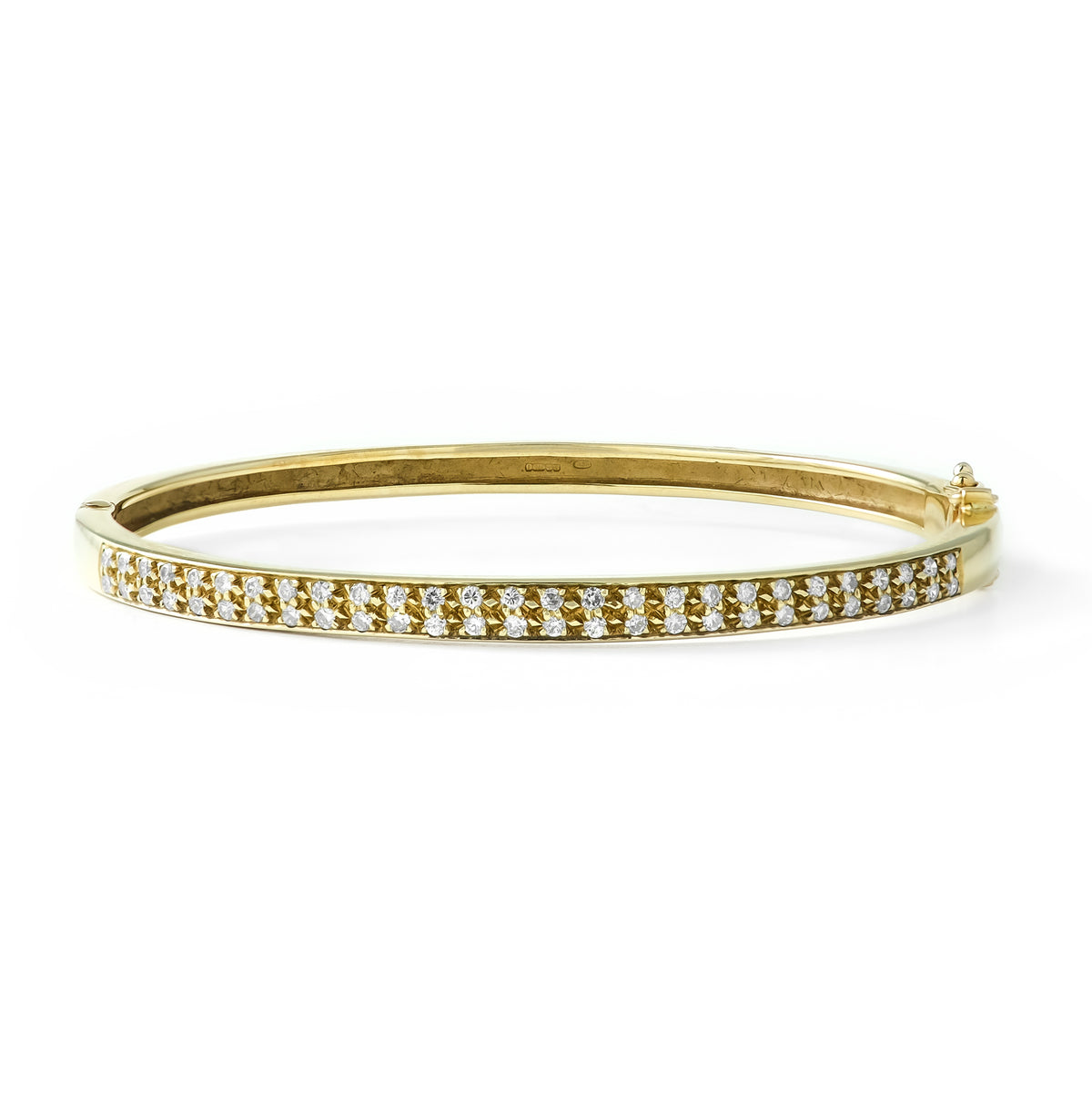 Vintage 9ct Yellow Gold Two Row Diamond Bangle
