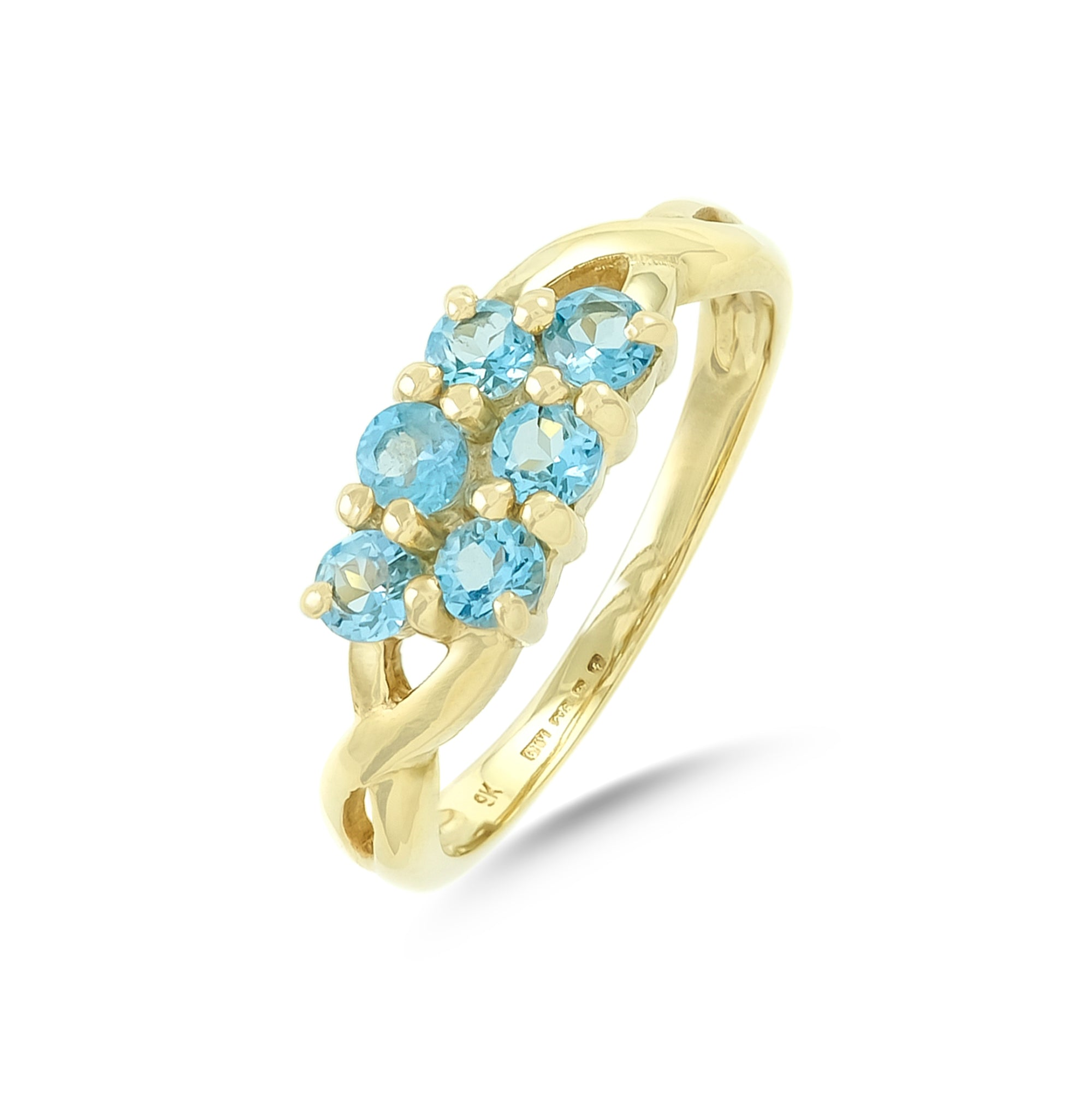 Vintage 9ct Yellow Gold Two Row Topaz Ring
