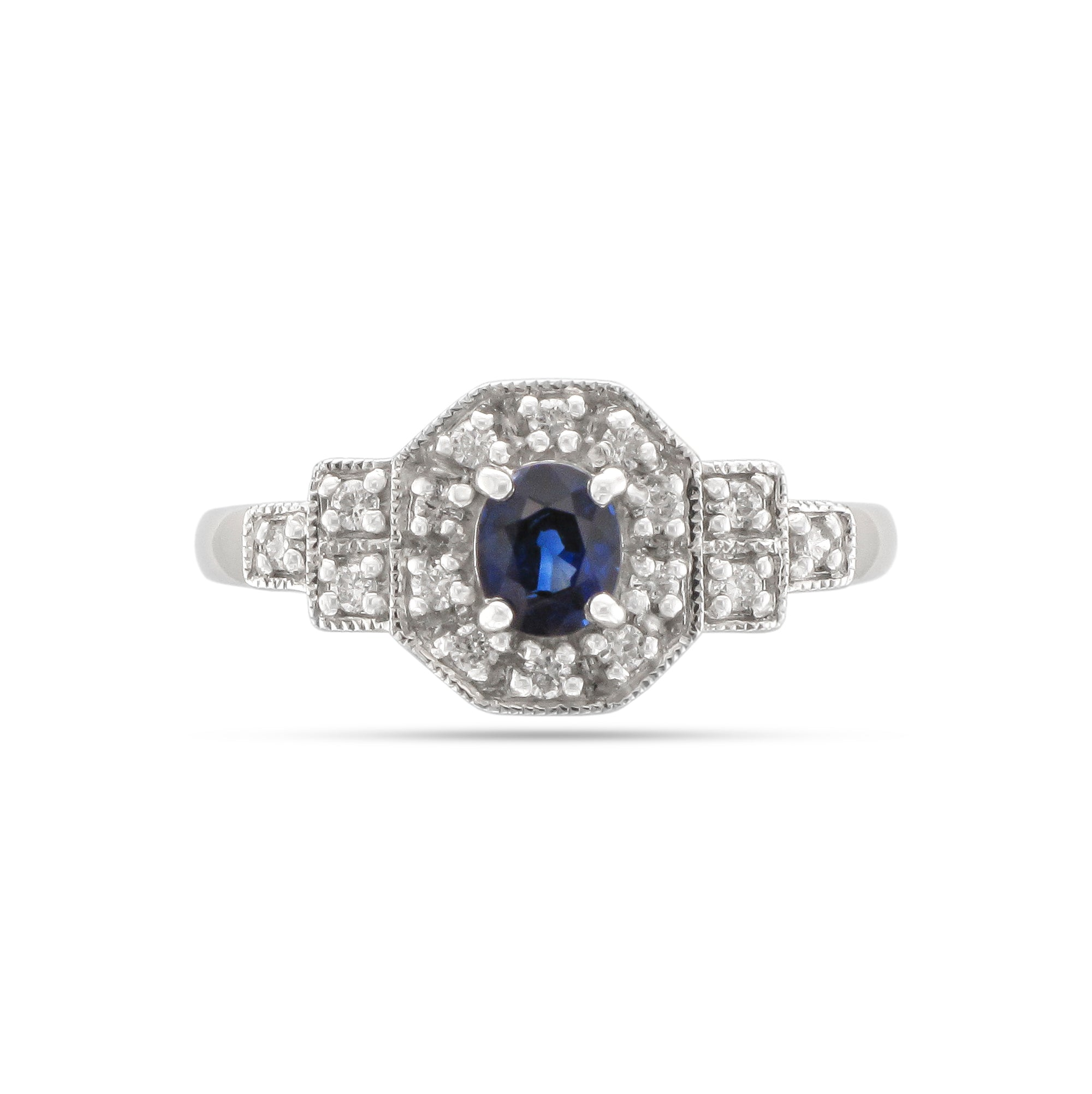 Vintage Platinum Sapphire and Diamond Cluster Ring
