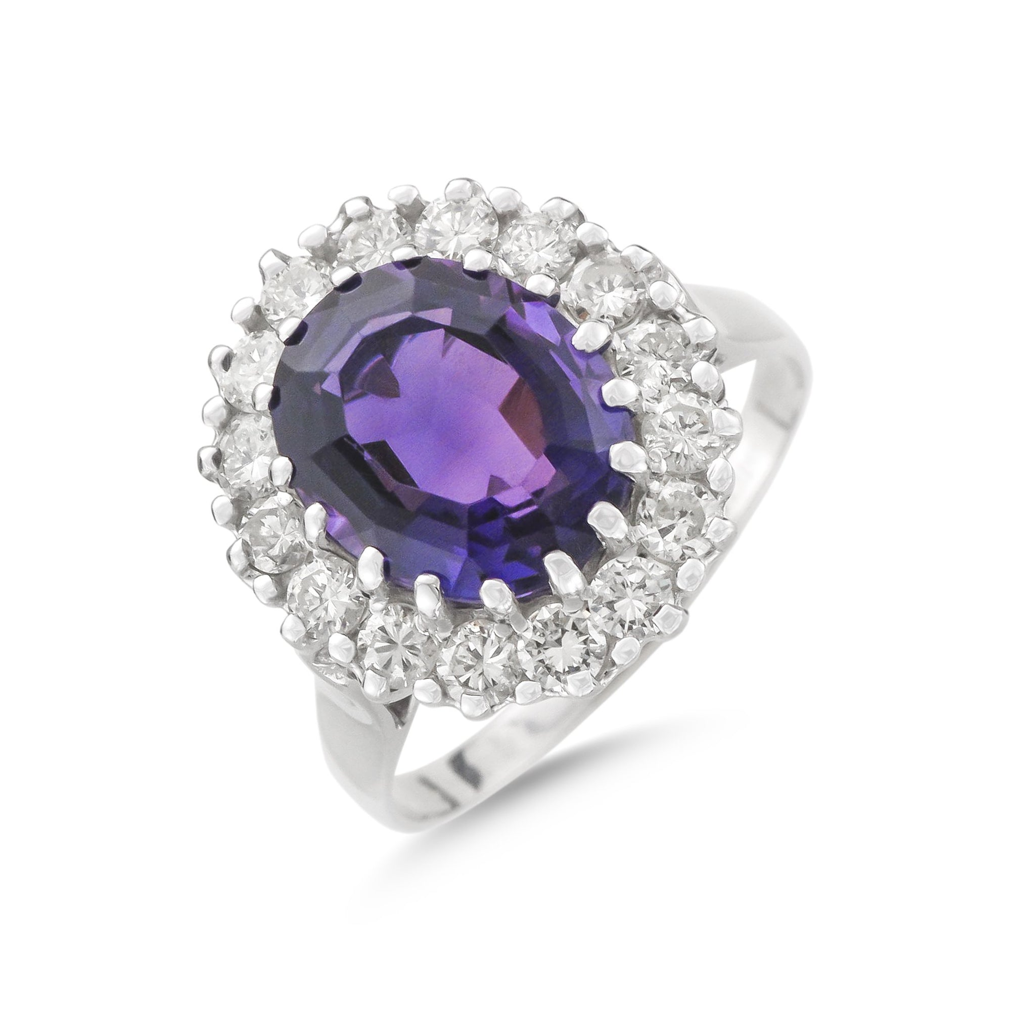 Vintage 18ct White Gold Amethyst and Diamond Cluster Ring